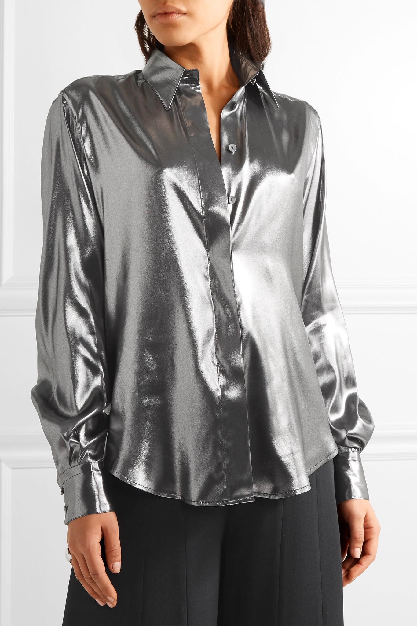 Pallas arianne silk lam shirt in metallic lyst for Silver metallic shirt women s