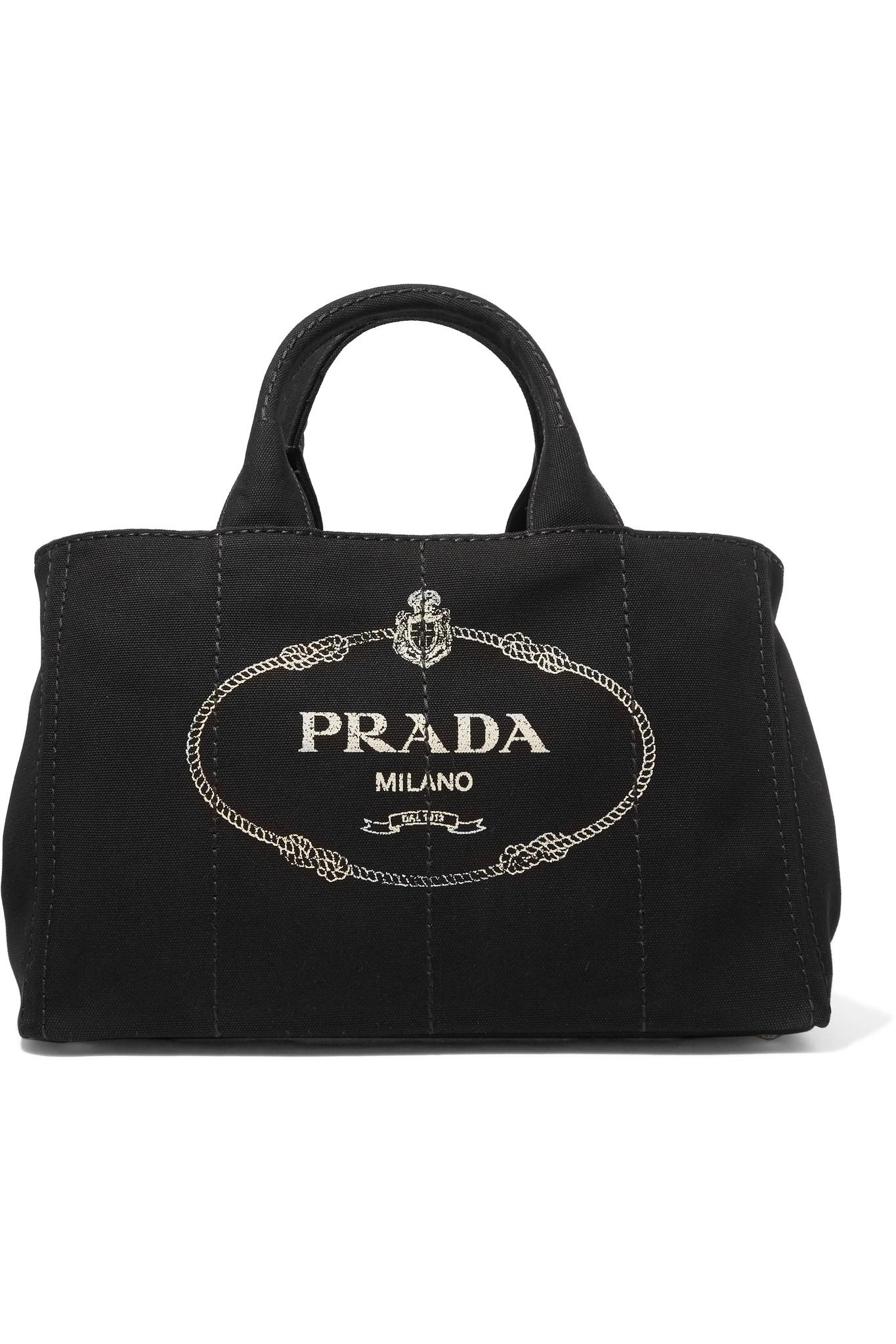 5c7afad64e25 Lyst - Prada Giardiniera Large Printed Canvas Tote in Black