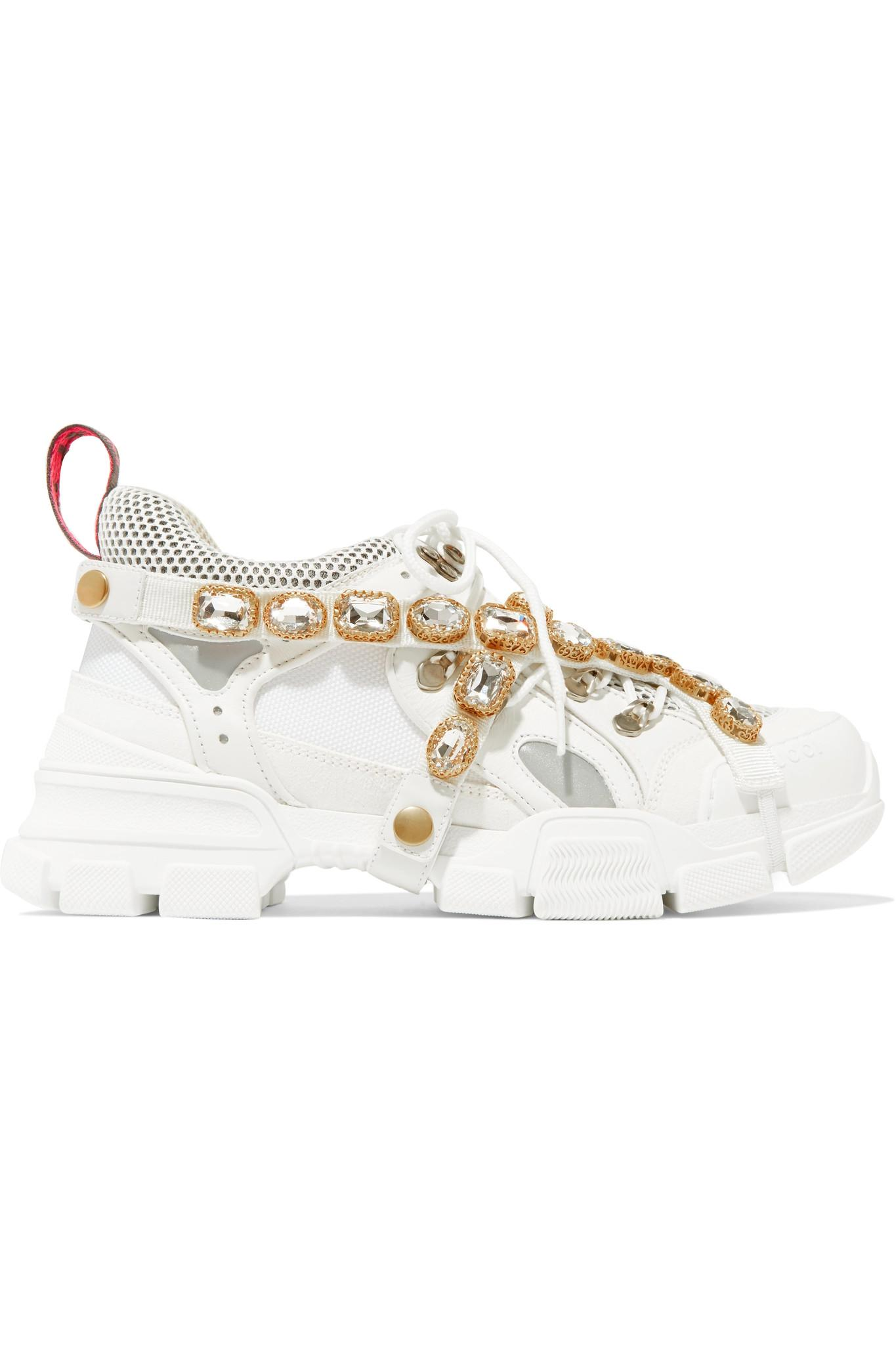 12eaa6185eda Gucci Flashtrek Sneakers With Removable Crystals in White - Save 37 ...