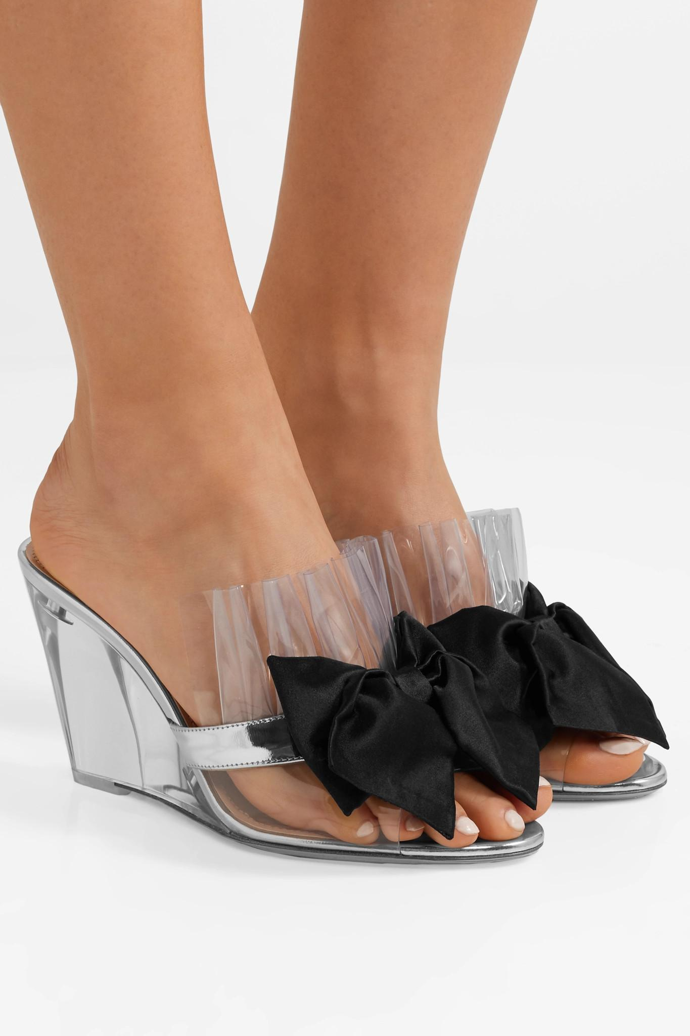 8bf665c6b8e Miu Miu - Bow-embellished Perspex And Metallic Leather Wedge Sandals -  Lyst. View fullscreen