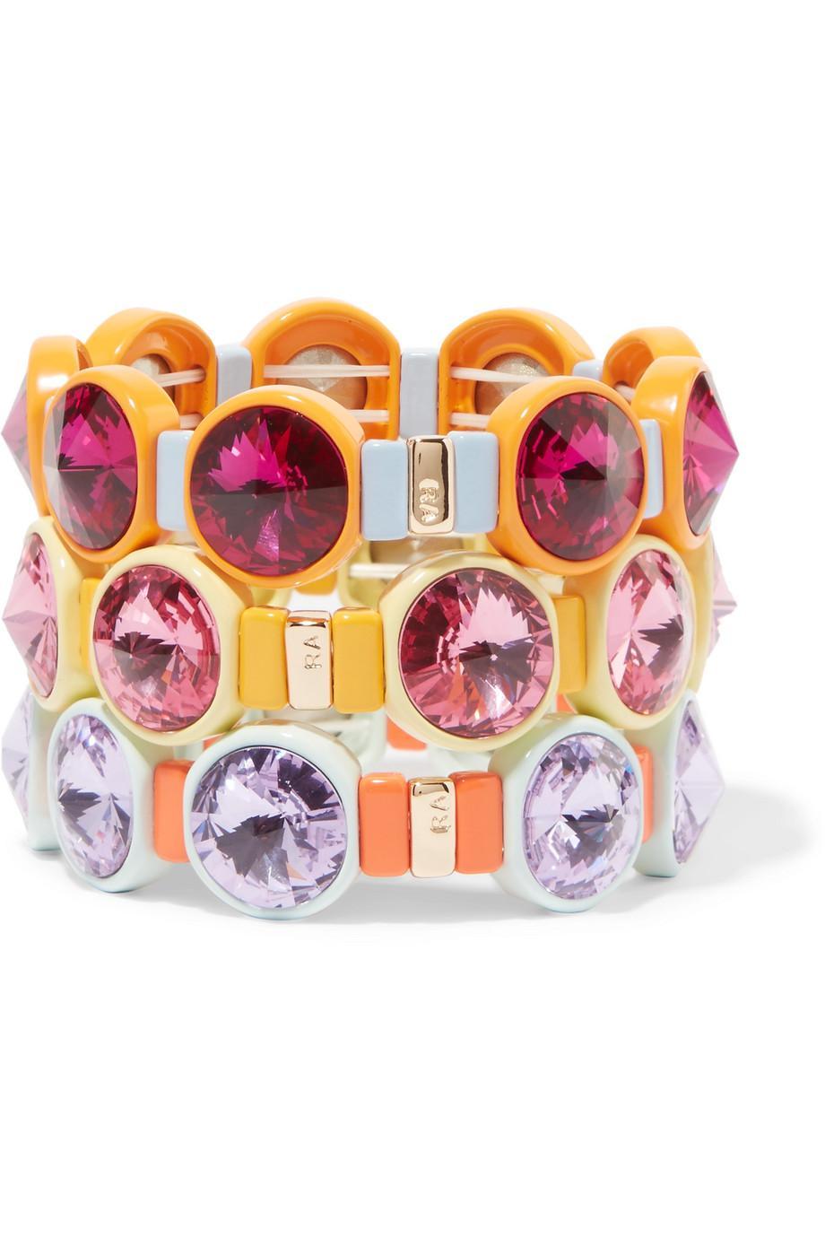 Technicolor Set Of Three Enamel And Swarovski Crystal Bracelets - Pink Roxanne Assoulin oZOWkd9