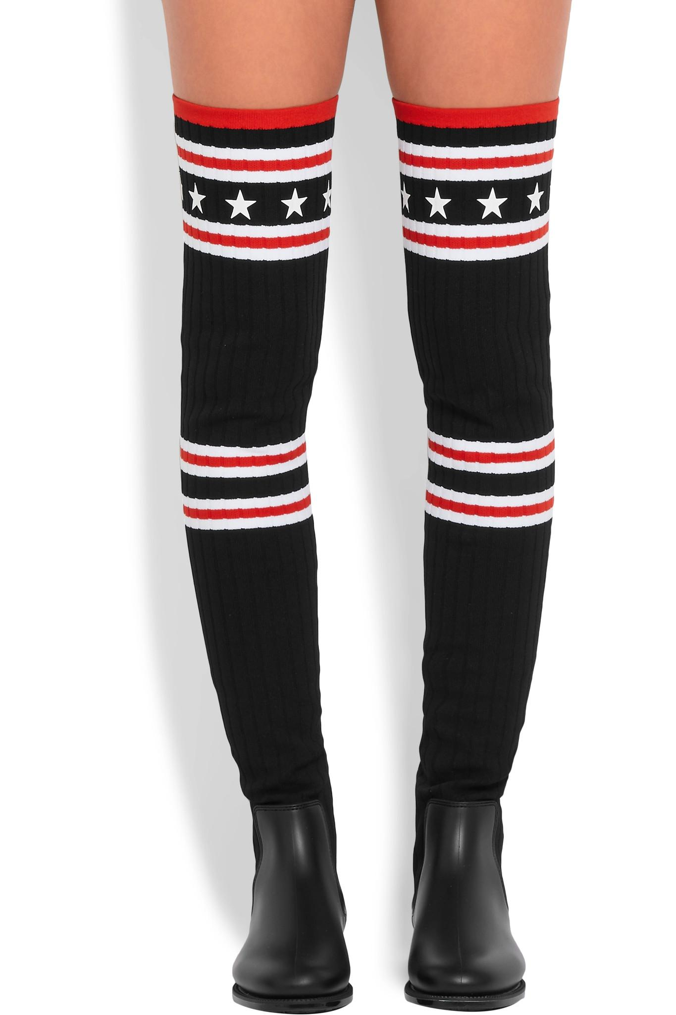 9500165db01f Givenchy Storm Rubber And Ribbed-knit Thigh Boots in Black - Lyst