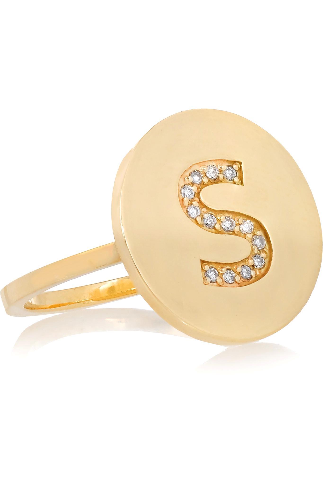 Lyst Jennifer Meyer Letter 18 Karat Gold Diamond Ring In
