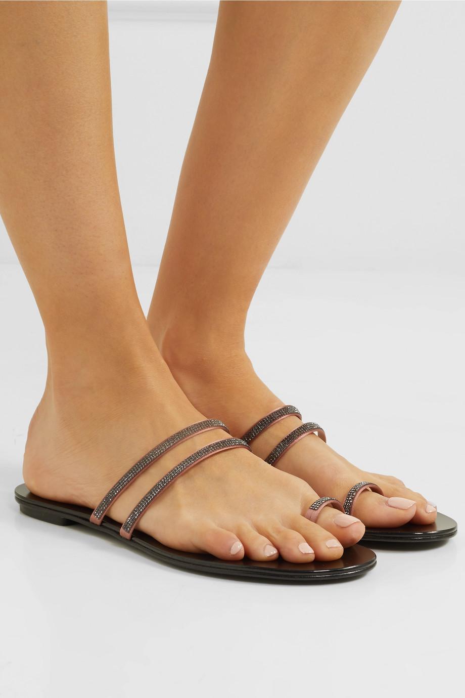 Sula Swarovski Crystal-embellished Satin And Leather Sandals - Black Pedro Garcia 9374sP