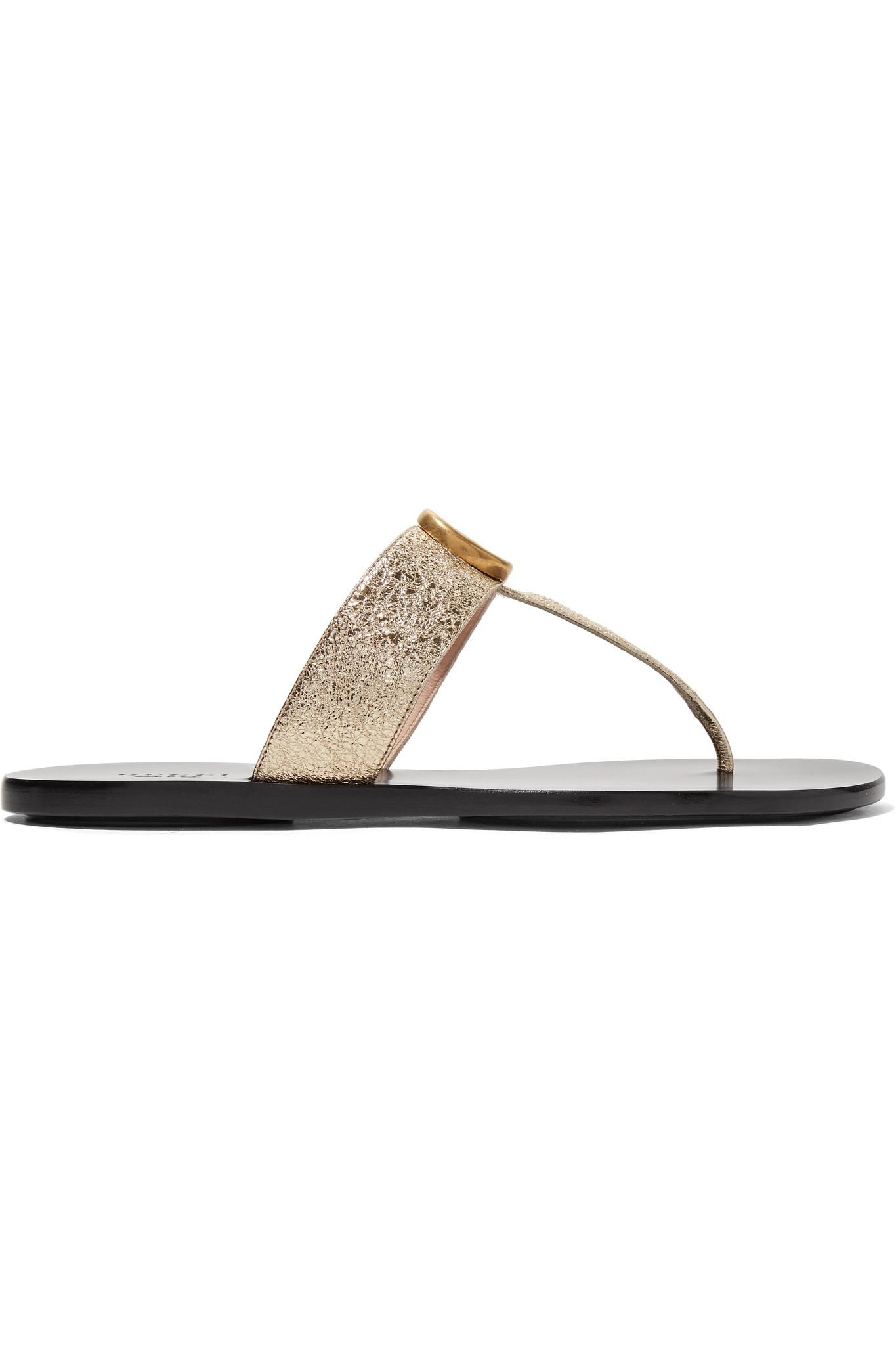 7004ce63e2dc78 Gucci Marmont Metallic Textured-leather Sandals in Metallic - Lyst