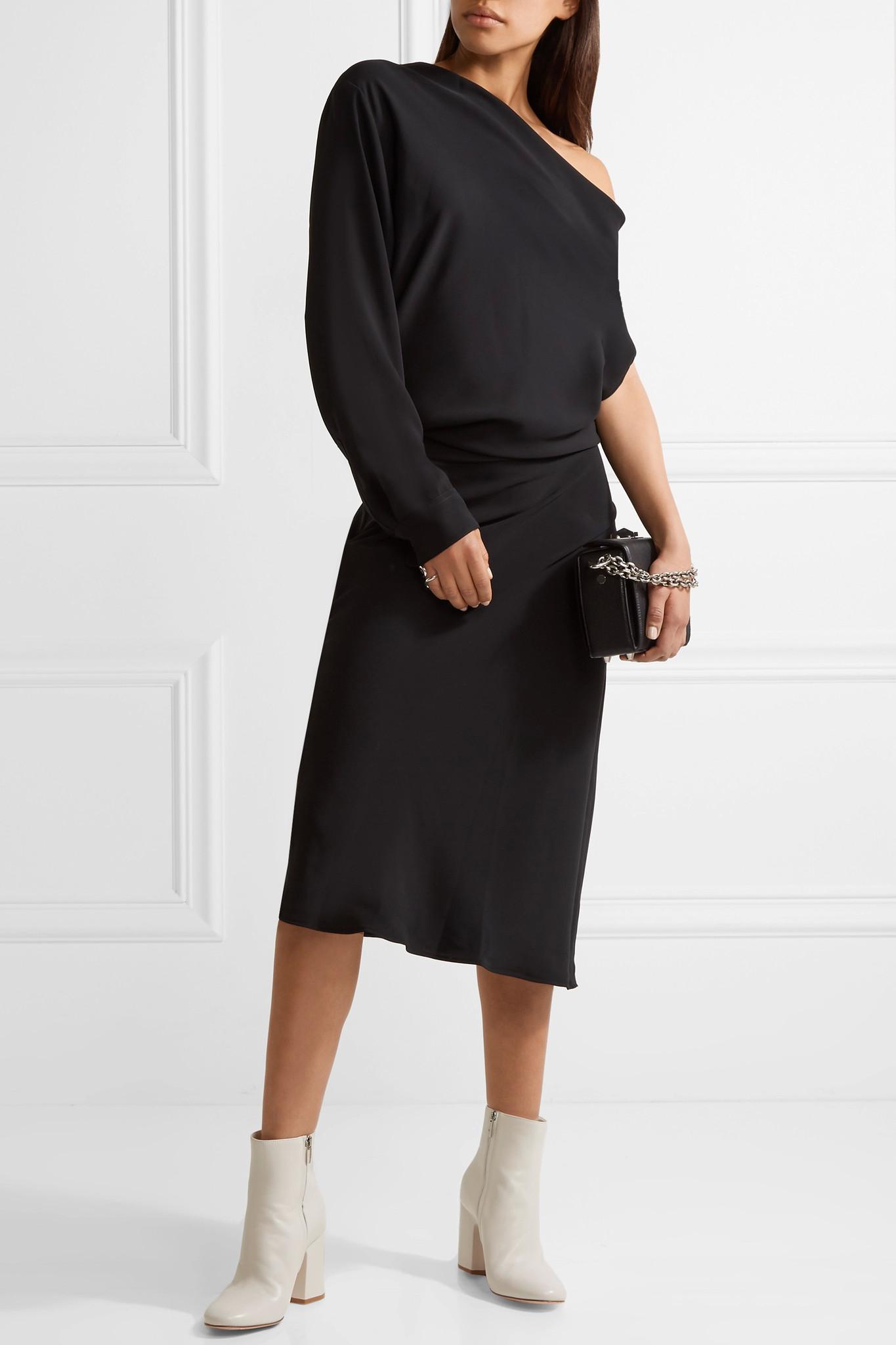 One-shoulder Crepe De Chine Midi Dress - Black Maison Martin Margiela OQO8q