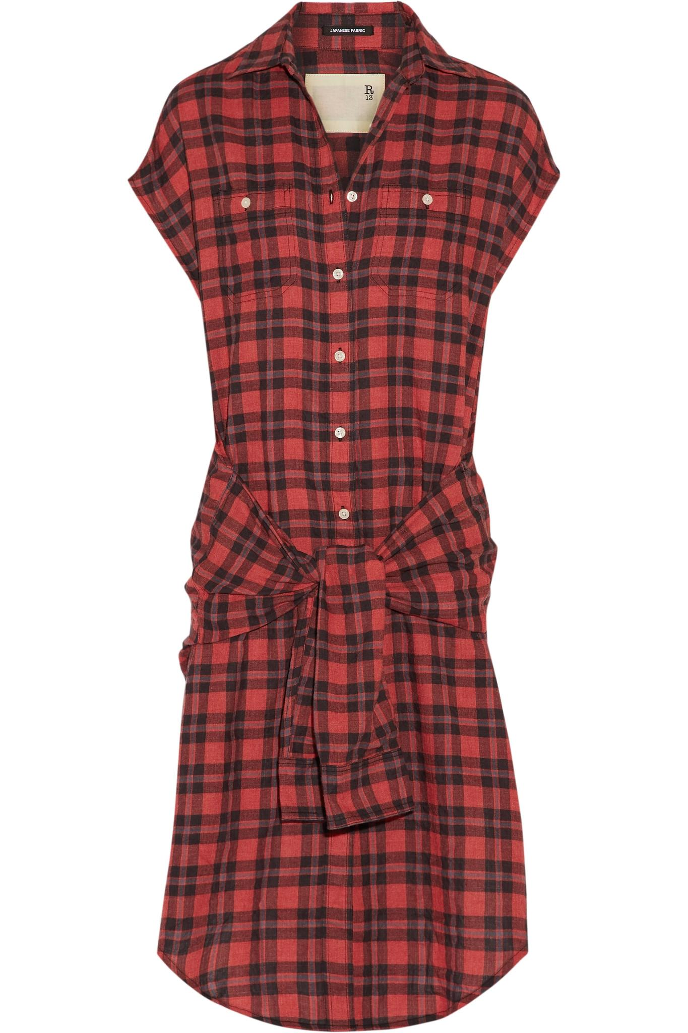 Lyst r13 tie front plaid flannel shirt dress in red for Red plaid dress shirt