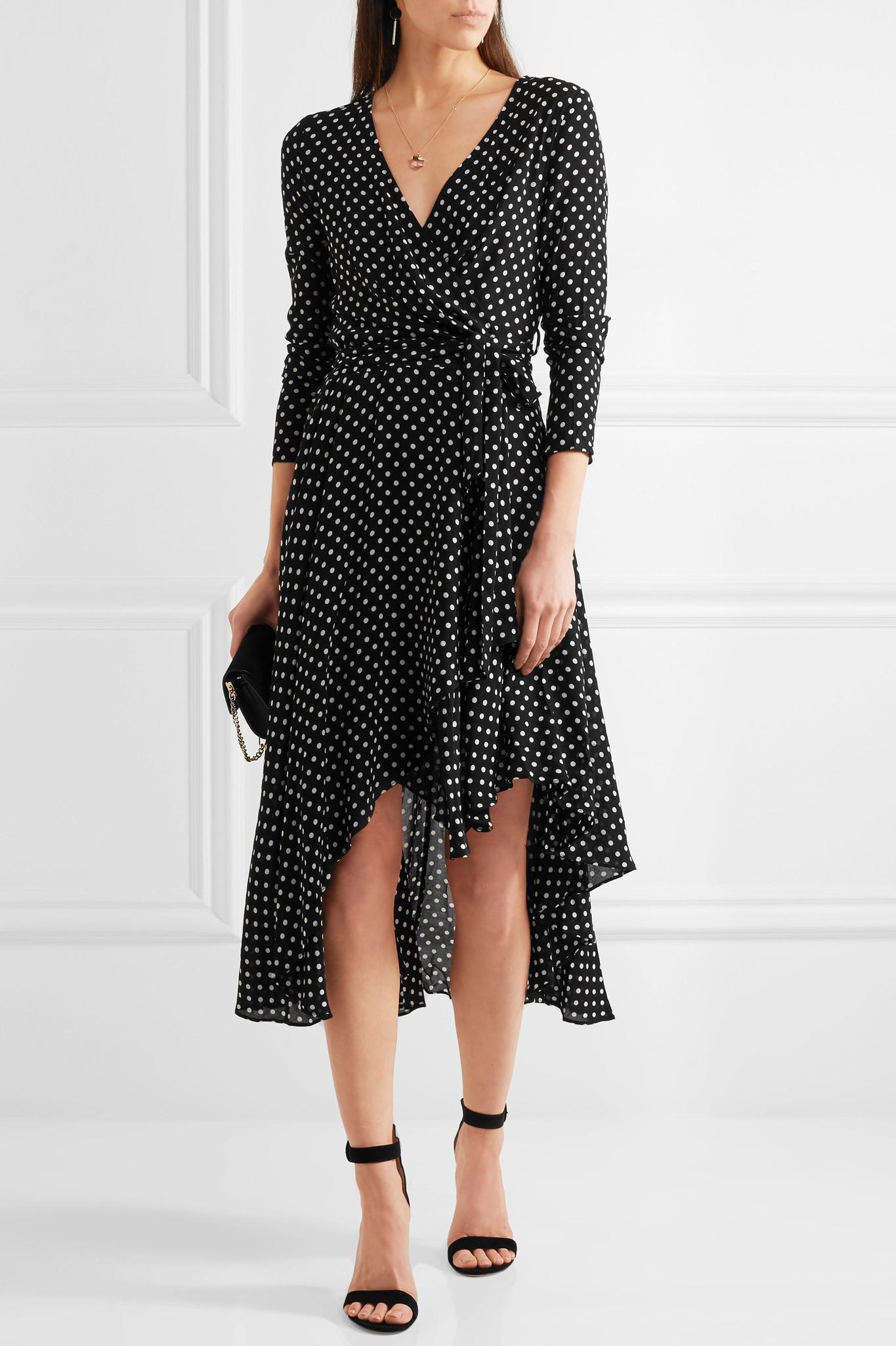 Zimmermann asymmetric polka dot crepe wrap midi dress in for Net 0 porter