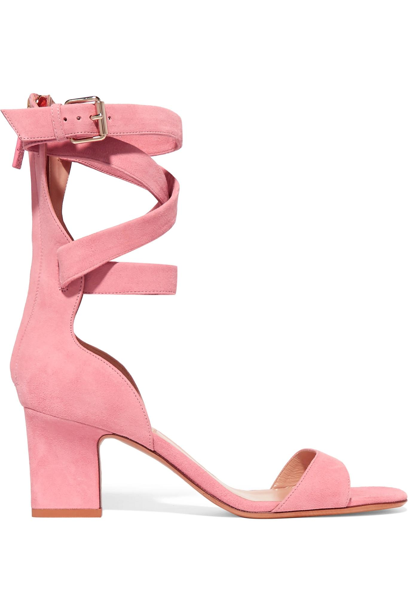 Valentino Suede Sandals in Pink