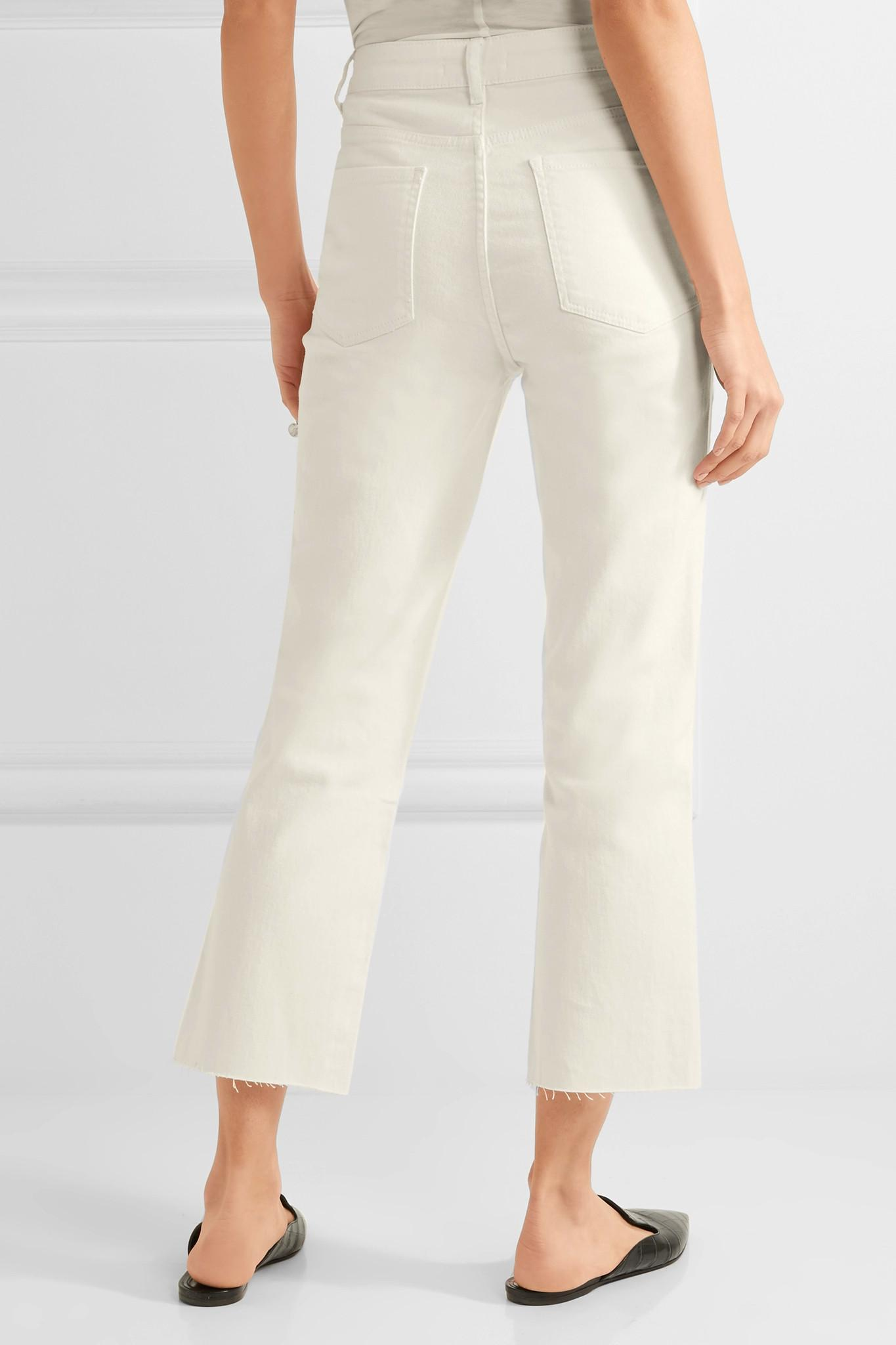 Cropped High-rise Straight-leg Jeans - White Barbara Casasola lEmzq5OsC