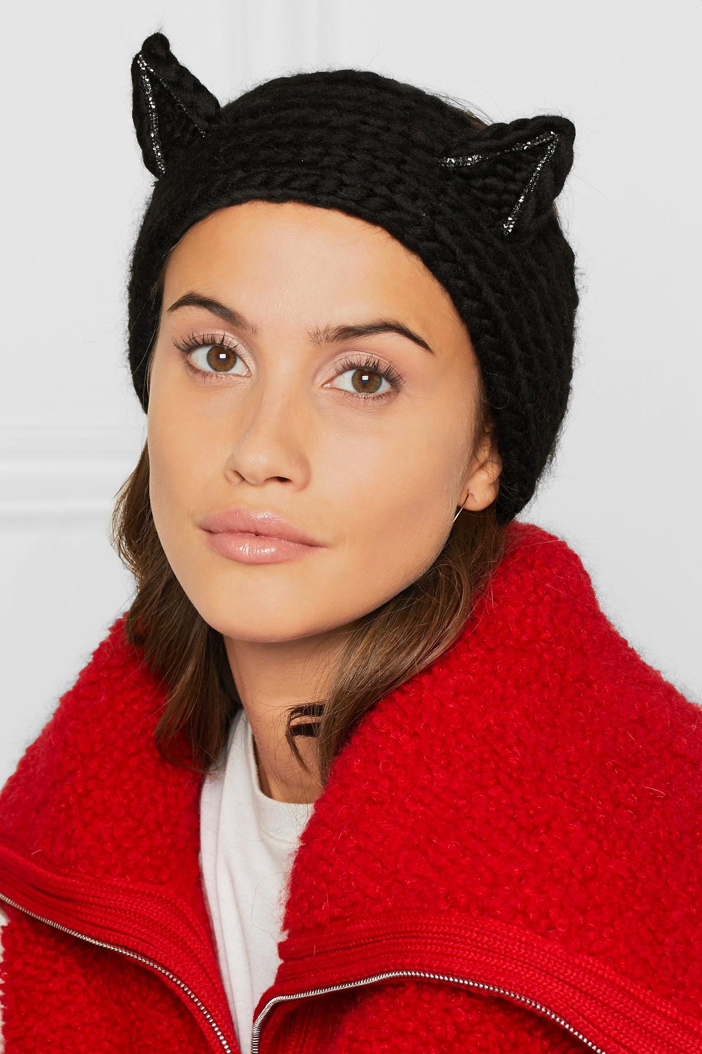 8074bbc22 Lyst - Eugenia Kim Kat Crystal-embellished Wool Headband in Black