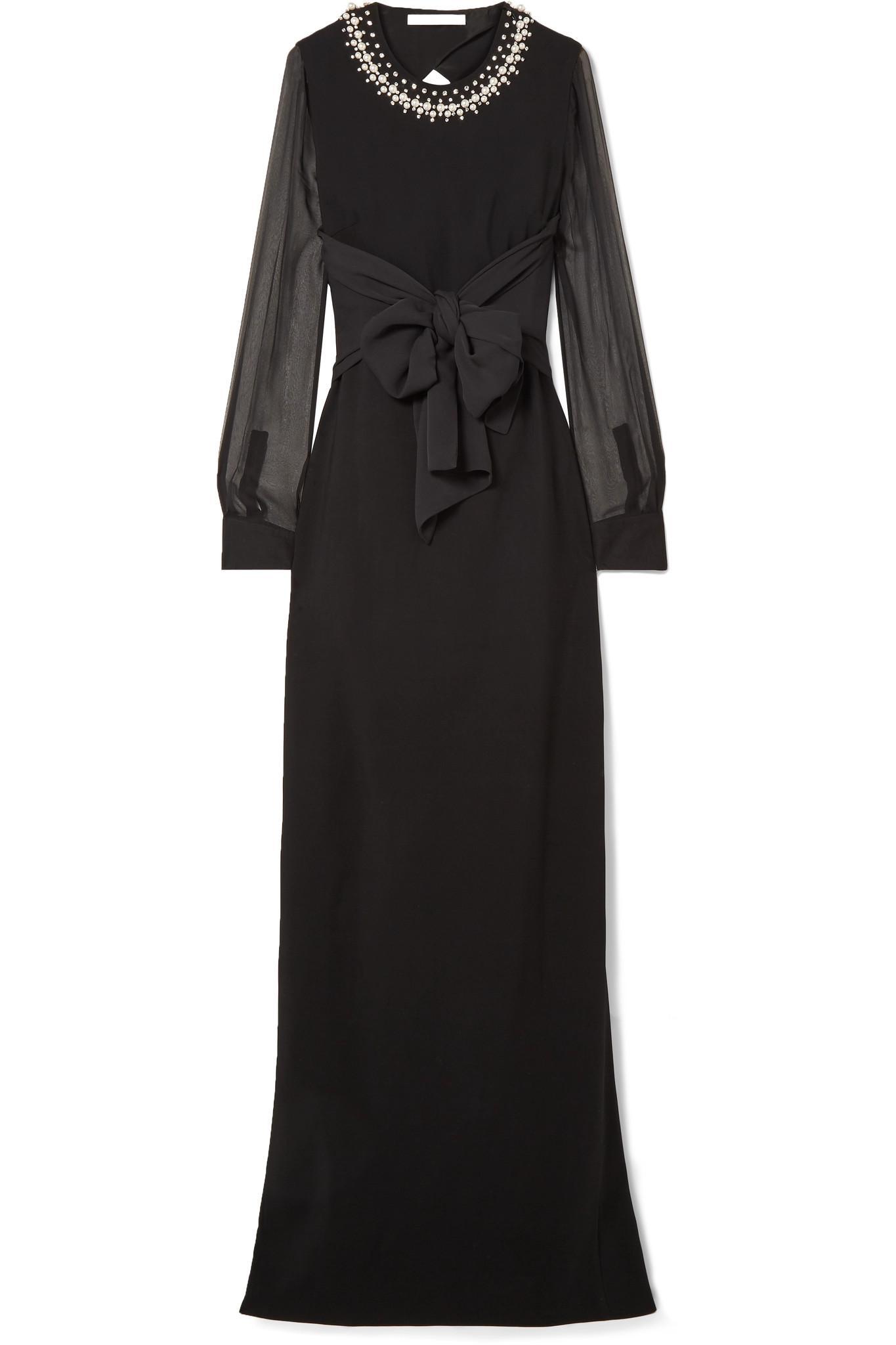 Embelli Soie Et Robe Extensible Cady Garni Tulle - Givenchy Noir 1Dw2i3o