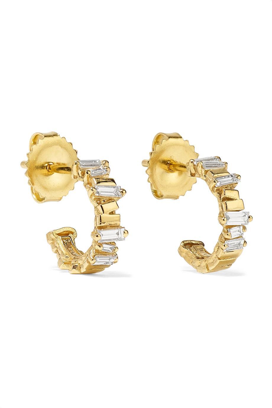 Suzanne Kalan 18-karat Gold Diamond Hoop Earrings bwY0T7rd