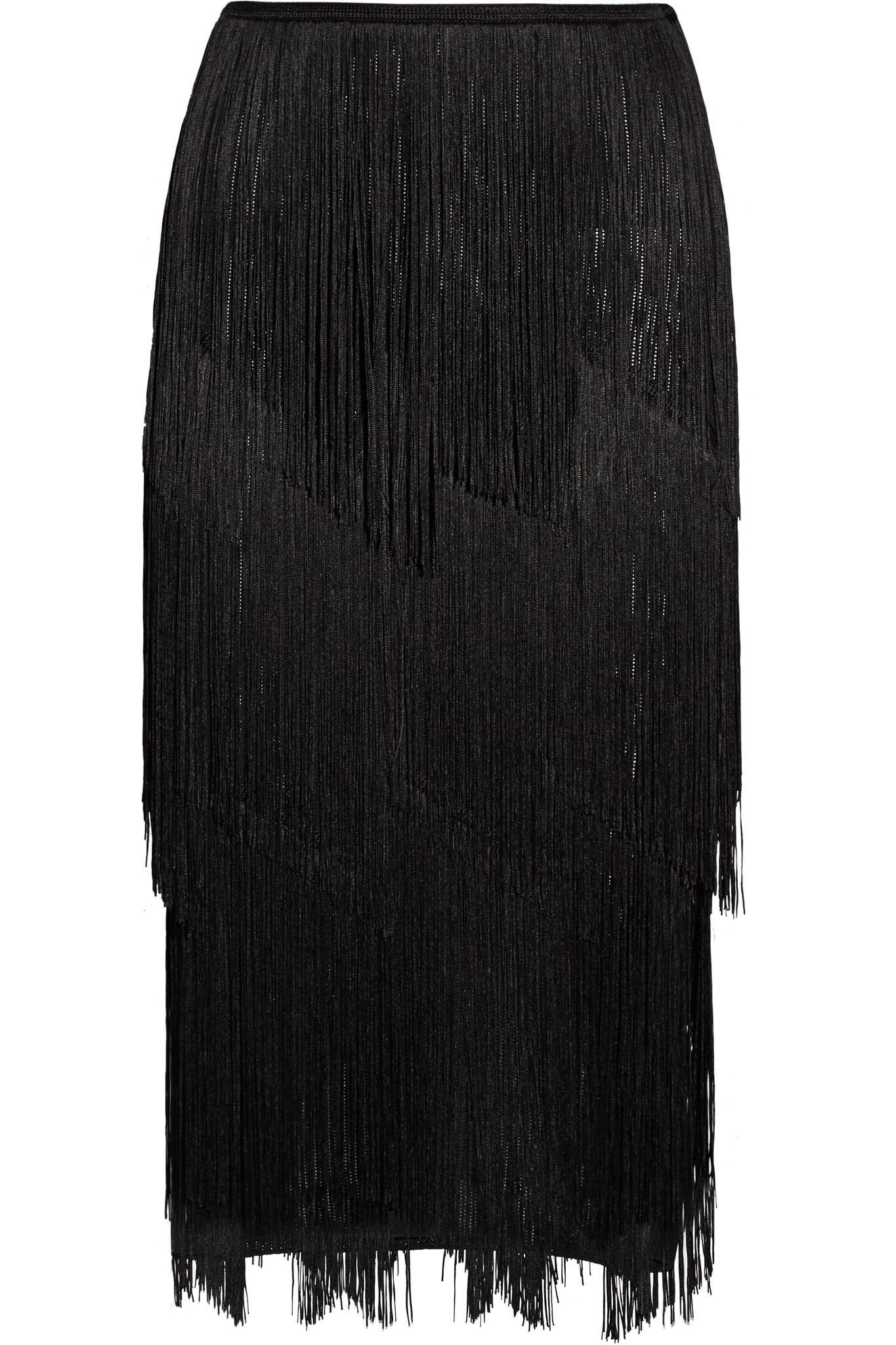 tom ford fringed stretch ribbed knit midi skirt in black