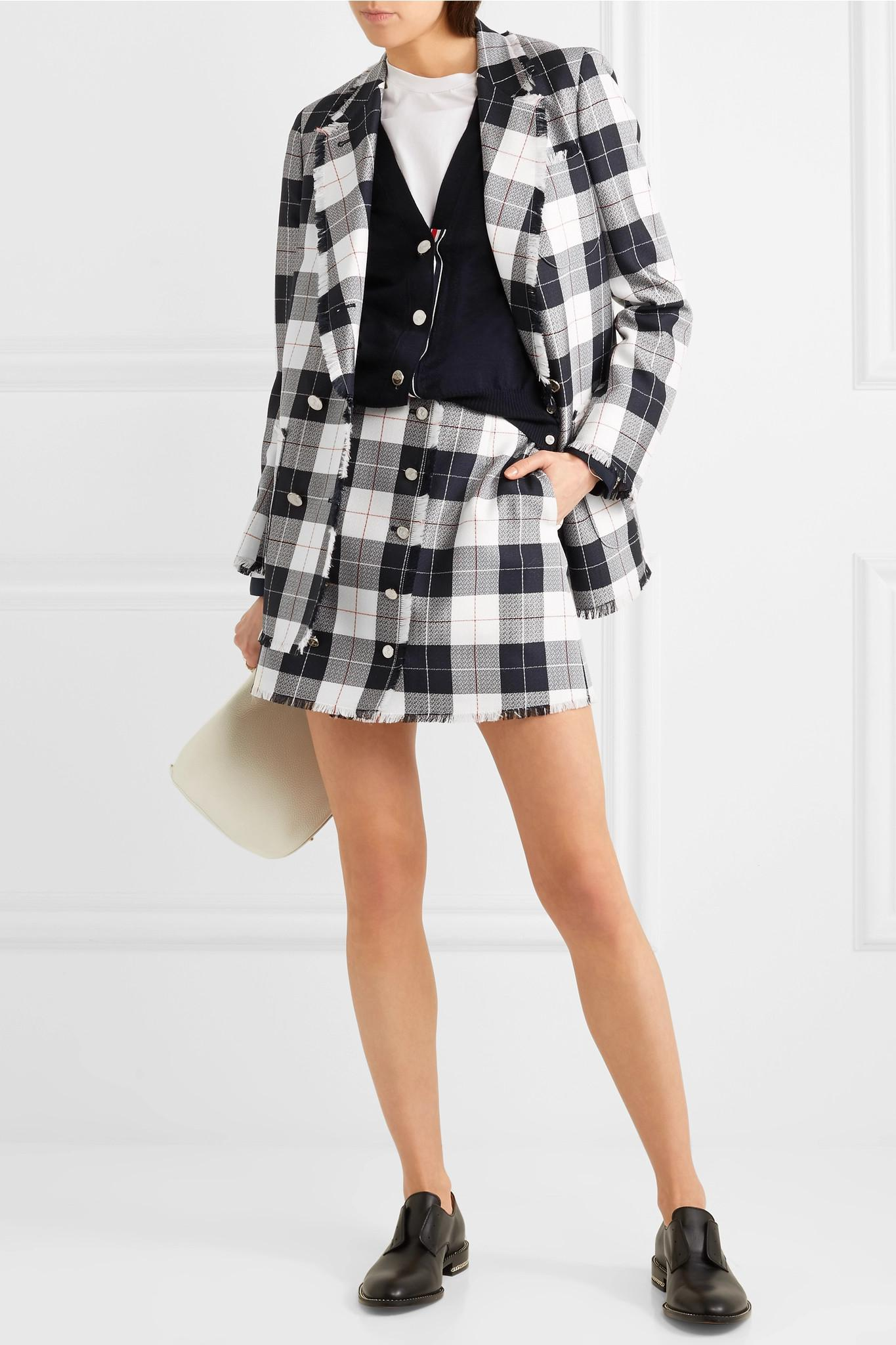 0b31361c3 Thom Browne - Blue Checked Wool-blend Mini Skirt - Lyst. View fullscreen