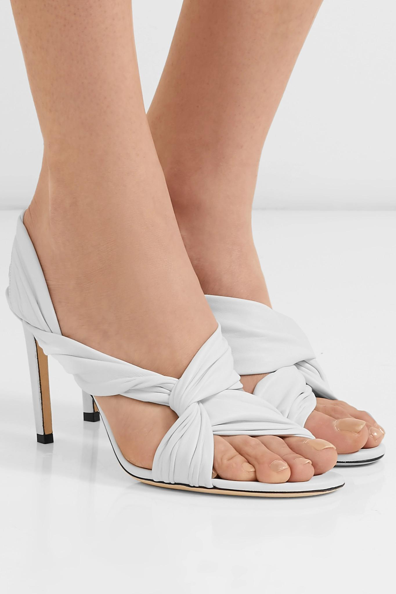 739e8340afb7 Jimmy Choo - White Leila 85 Knotted Leather Slingback Sandals - Lyst. View  fullscreen