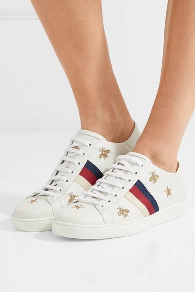 16cab1ccb Gucci Ace Embroidered Collapsible-heel Leather Sneakers in White - Lyst