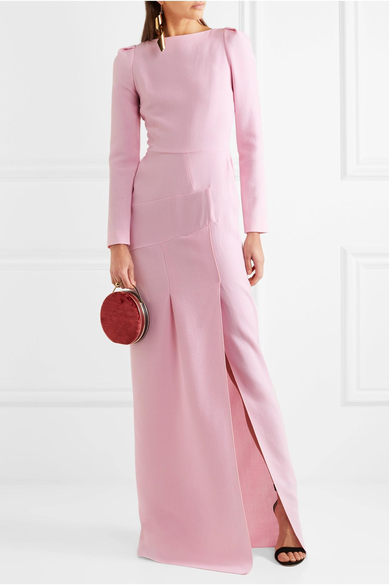 Lyst roland mouret ella wool crepe gown in pink for Net a porter