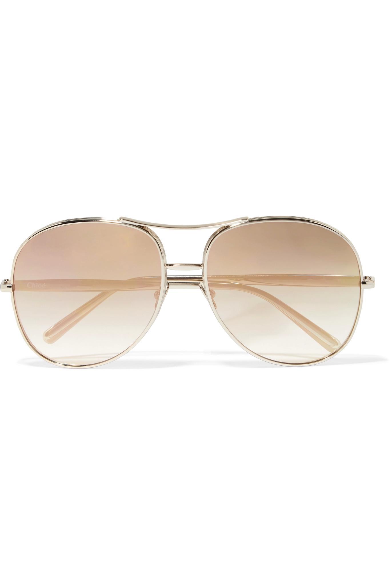 Chloe Gold Frame Sunglasses : Chloe Nola Aviator-style Gold-tone Mirrored Sunglasses in ...