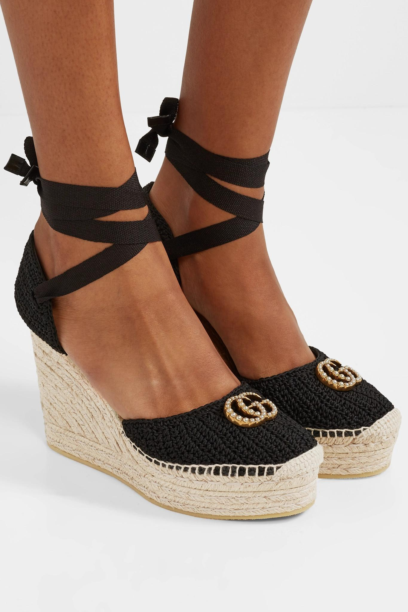 11d5c8e71958 Gucci - Black Lilibeth Logo-embellished Crocheted Cotton Wedge Espadrilles  - Lyst. View fullscreen