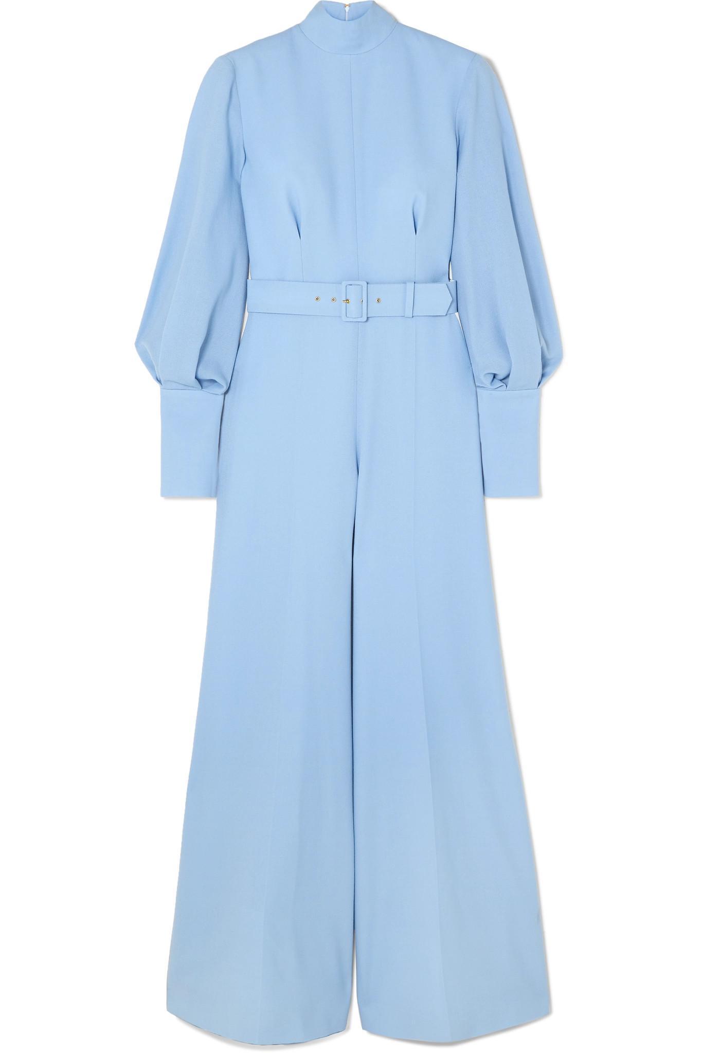 099dc6bb90 Lyst - Emilia Wickstead Elvis Belted Wool-crepe Jumpsuit in Blue ...