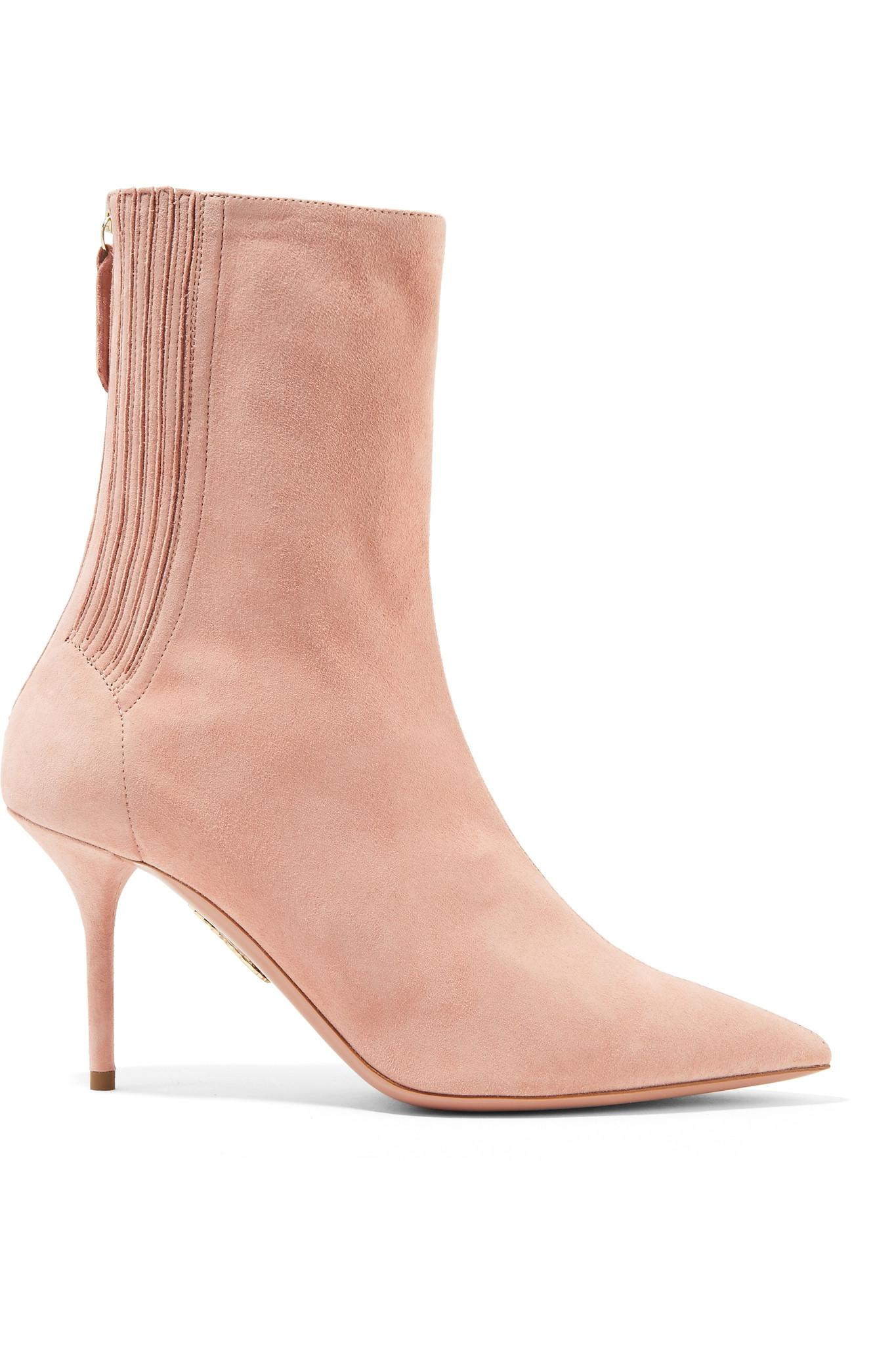 07c720ceb73f Lyst - Aquazzura Saint Honore Suede Sock Boots in Pink - Save 58%