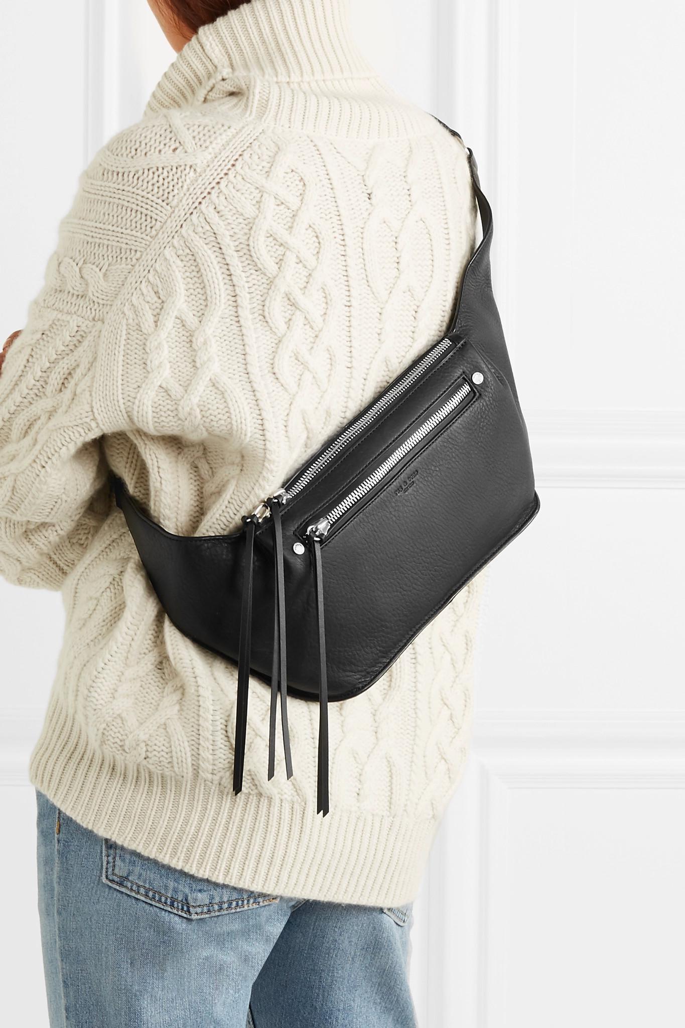 8eb6a2982ec7 Lyst - Rag   Bone Ellis Large Textured-leather Belt Bag in Black