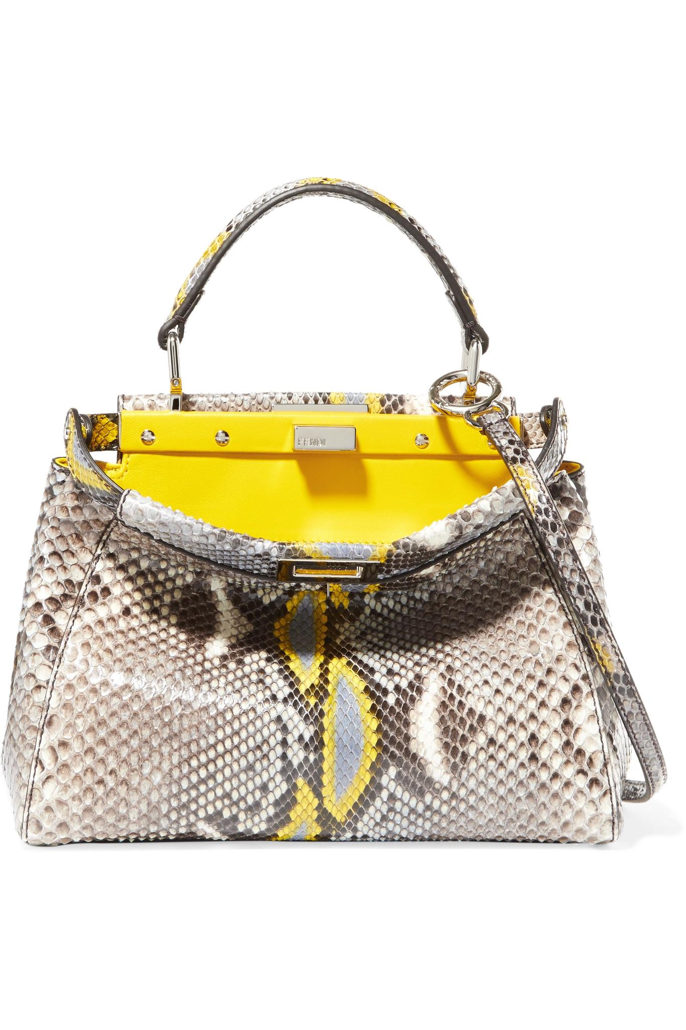 Lyst - Fendi Peekaboo Mini Python Shoulder Bag in Yellow 28fd91207f355
