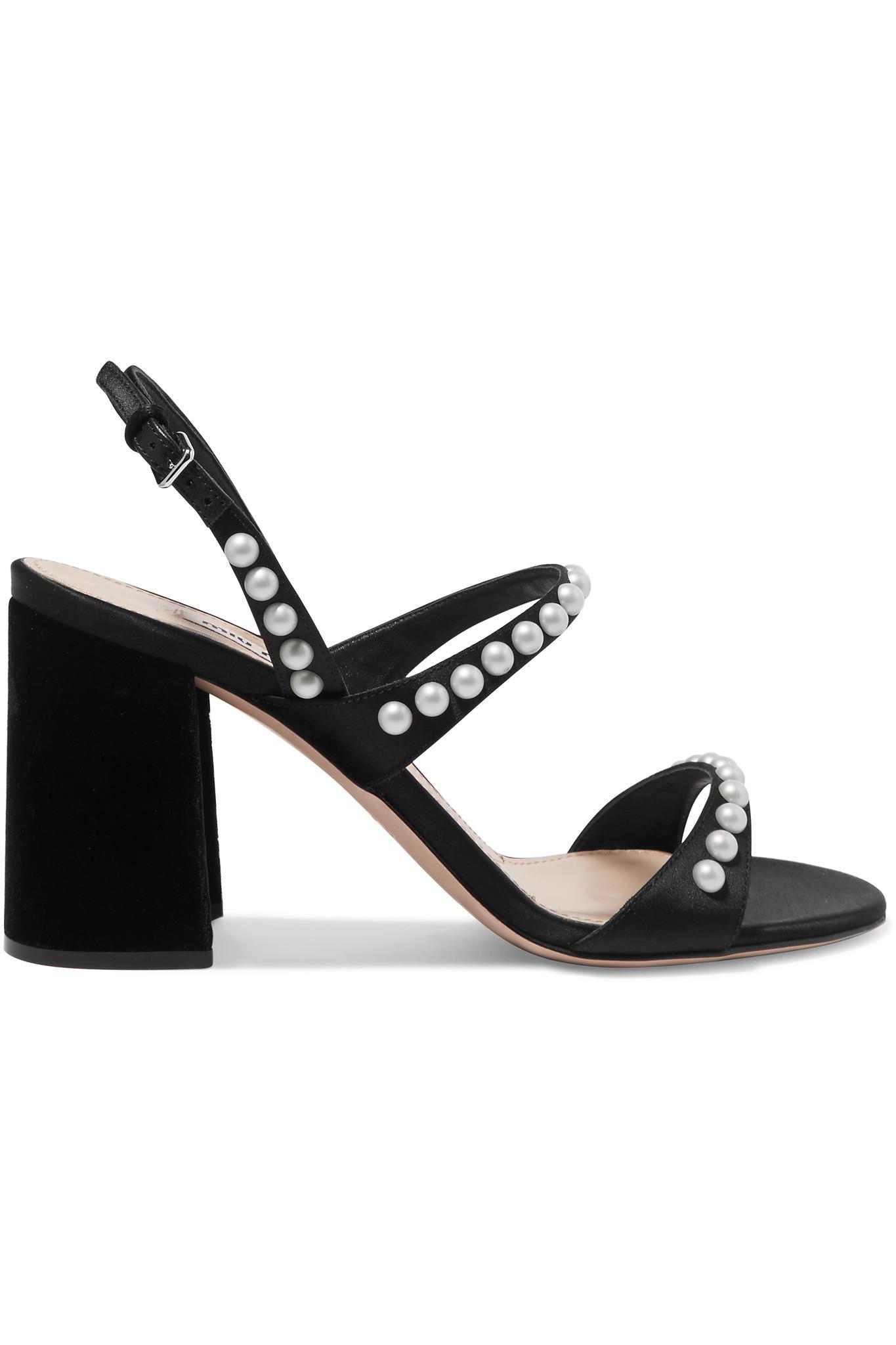 5a62dadeb11 Miu Miu Faux Pearl-embellished Suede Slingback Sandals in Black - Lyst