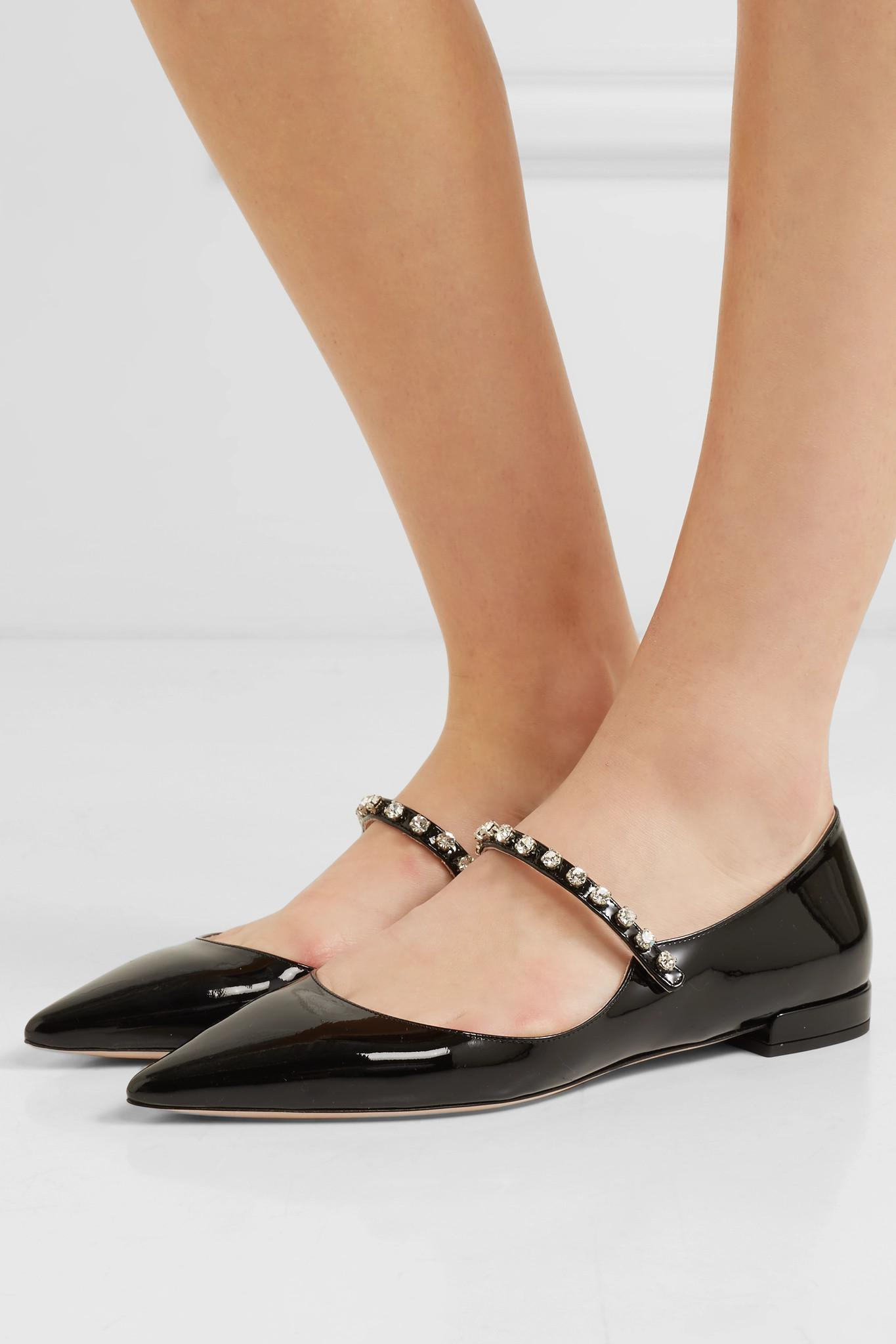 a2ca860db28 Miu Miu - Black Crystal-embellished Patent-leather Point-toe Flats - Lyst.  View fullscreen