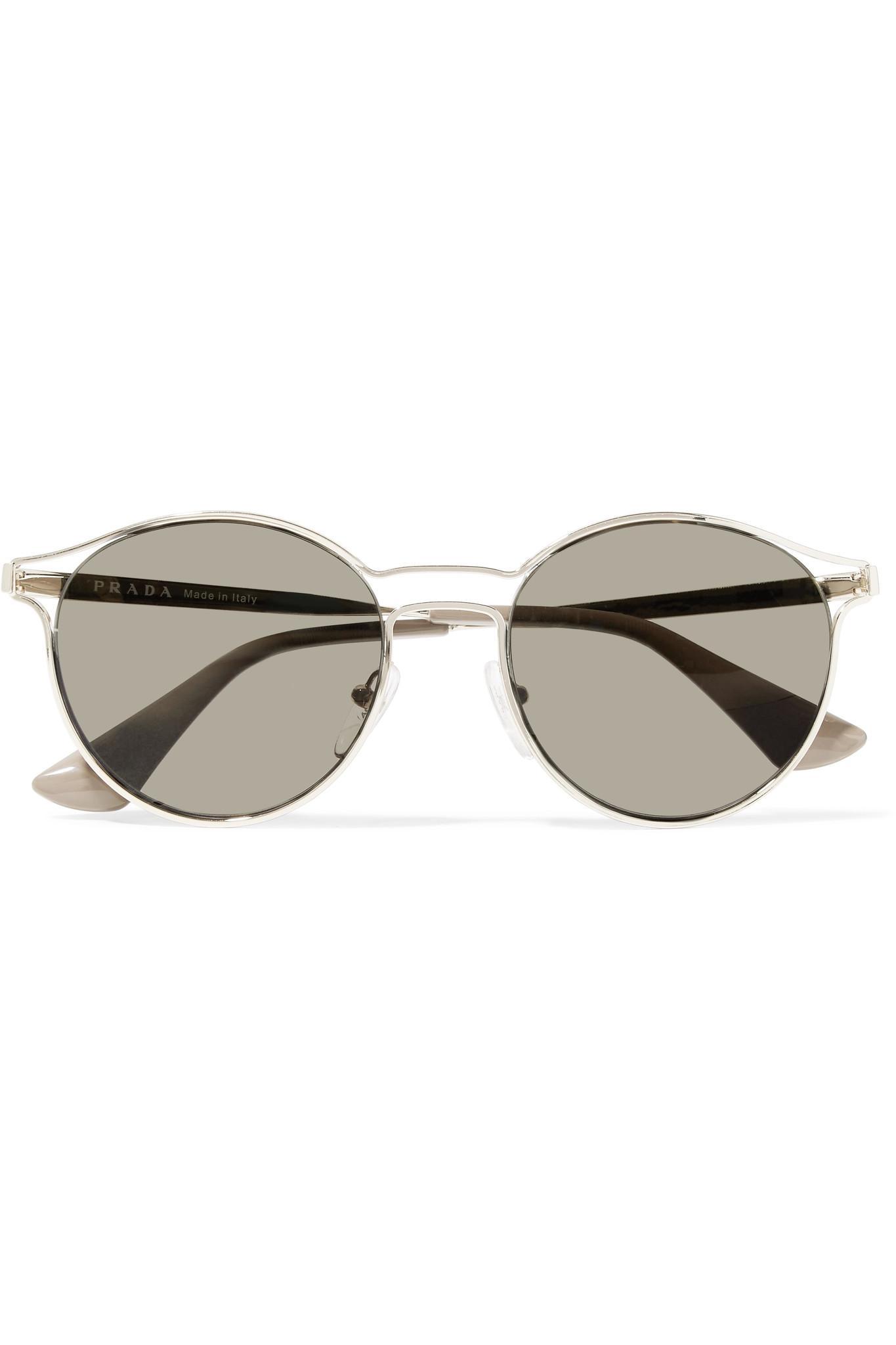 4be90ccc0ac5f ... canada prada round frame gold tone mirrored sunglasses in metallic lyst  51d3f 4dba5