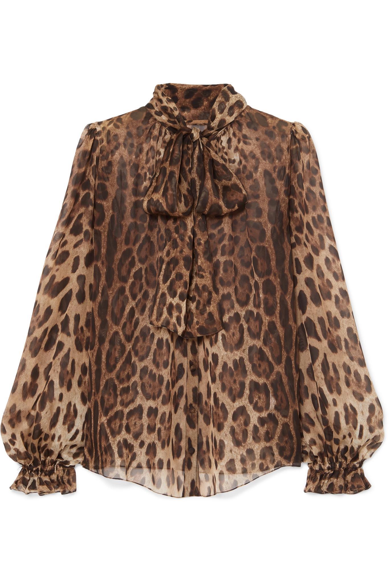 b1b5f60fc2e12 Dolce   Gabbana Pussy-bow Leopard-print Silk-chiffon Blouse in Brown ...