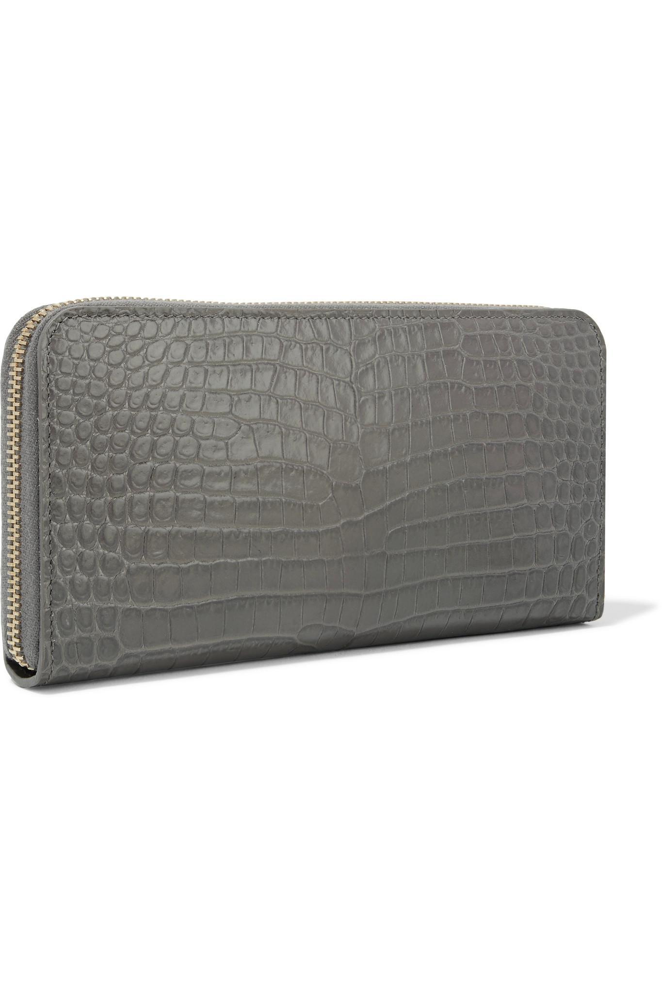 41c02449905e Lyst - Saint Laurent Croc-effect Leather Continental Wallet in Gray