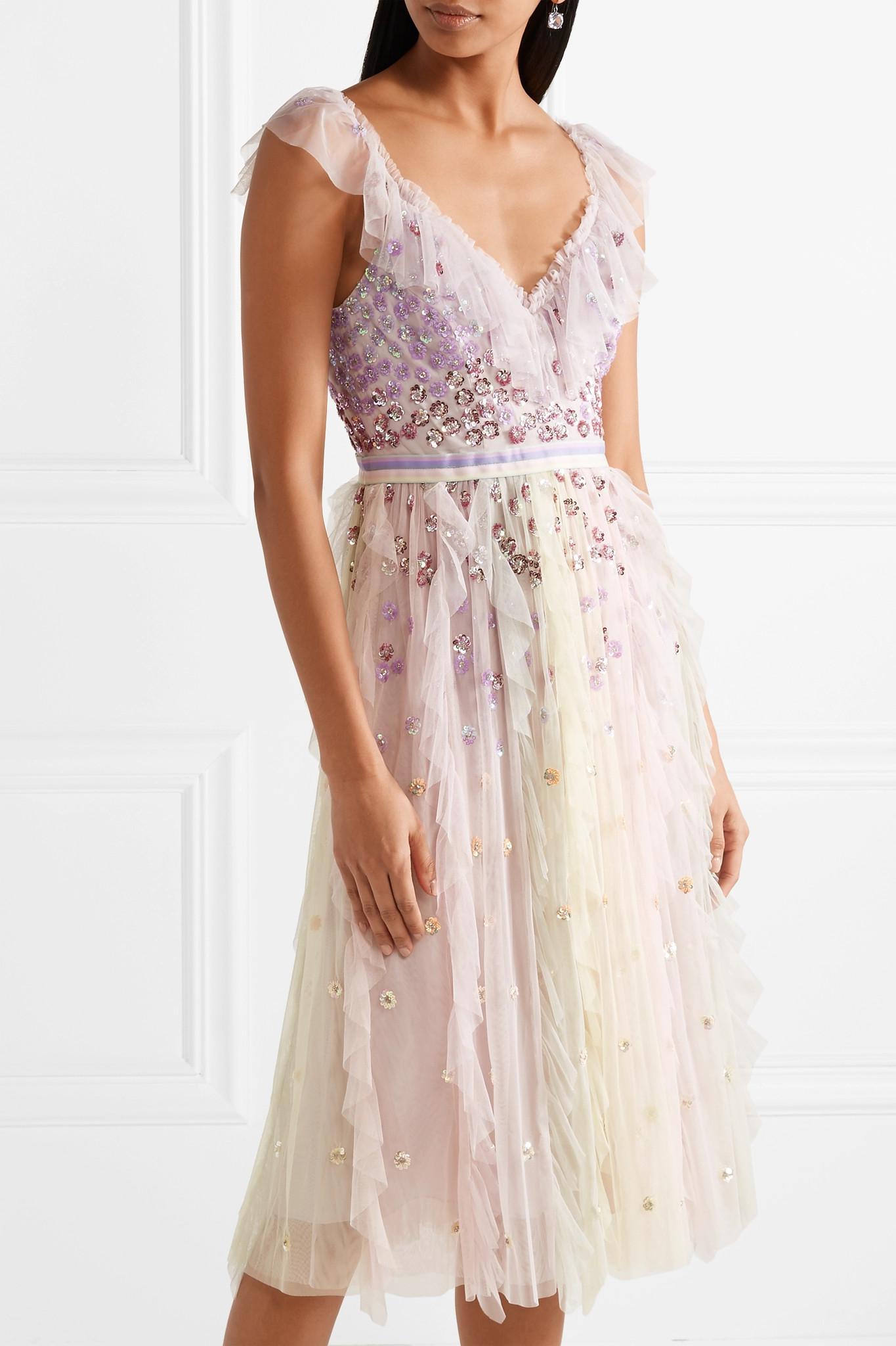 088b403b19 Needle & Thread Rainbow Embellished Ruffled Tulle Midi Dress in Pink ...