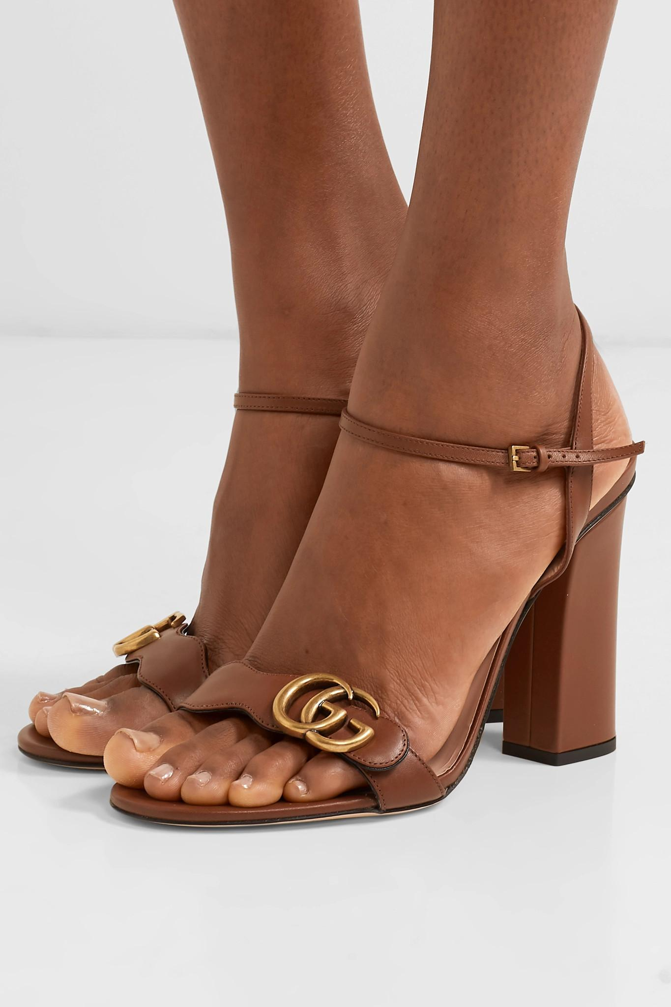 1c54360f103 Gucci Marmont Logo-embellished Leather Sandals in Brown - Save 10 ...