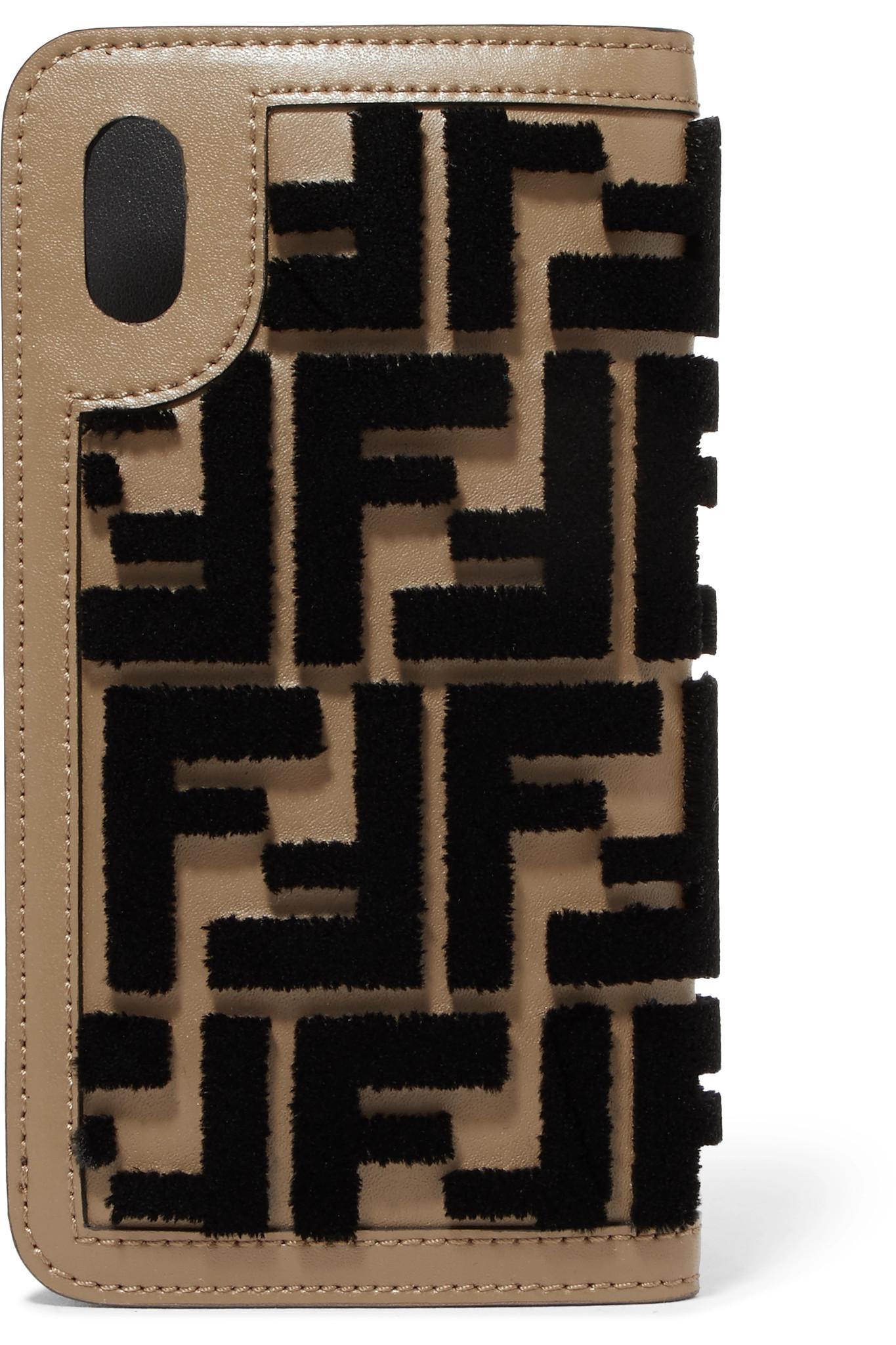 03cb81668230 funda con Lyst Iphone X Brown cuero de flocado para Fendi wTxZ1I5qZ