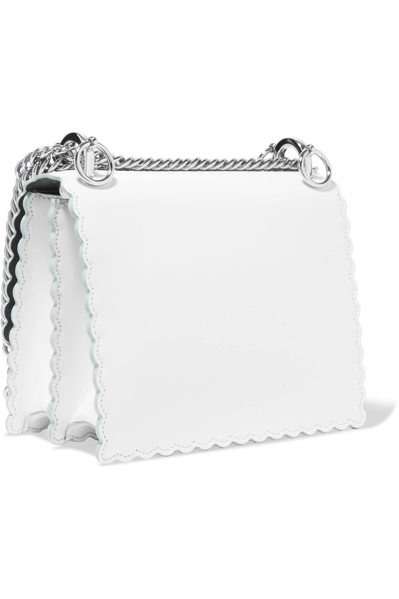 Lyst - Fendi Kan I Mini Leather Shoulder Bag in White 088e9ba60a4ed