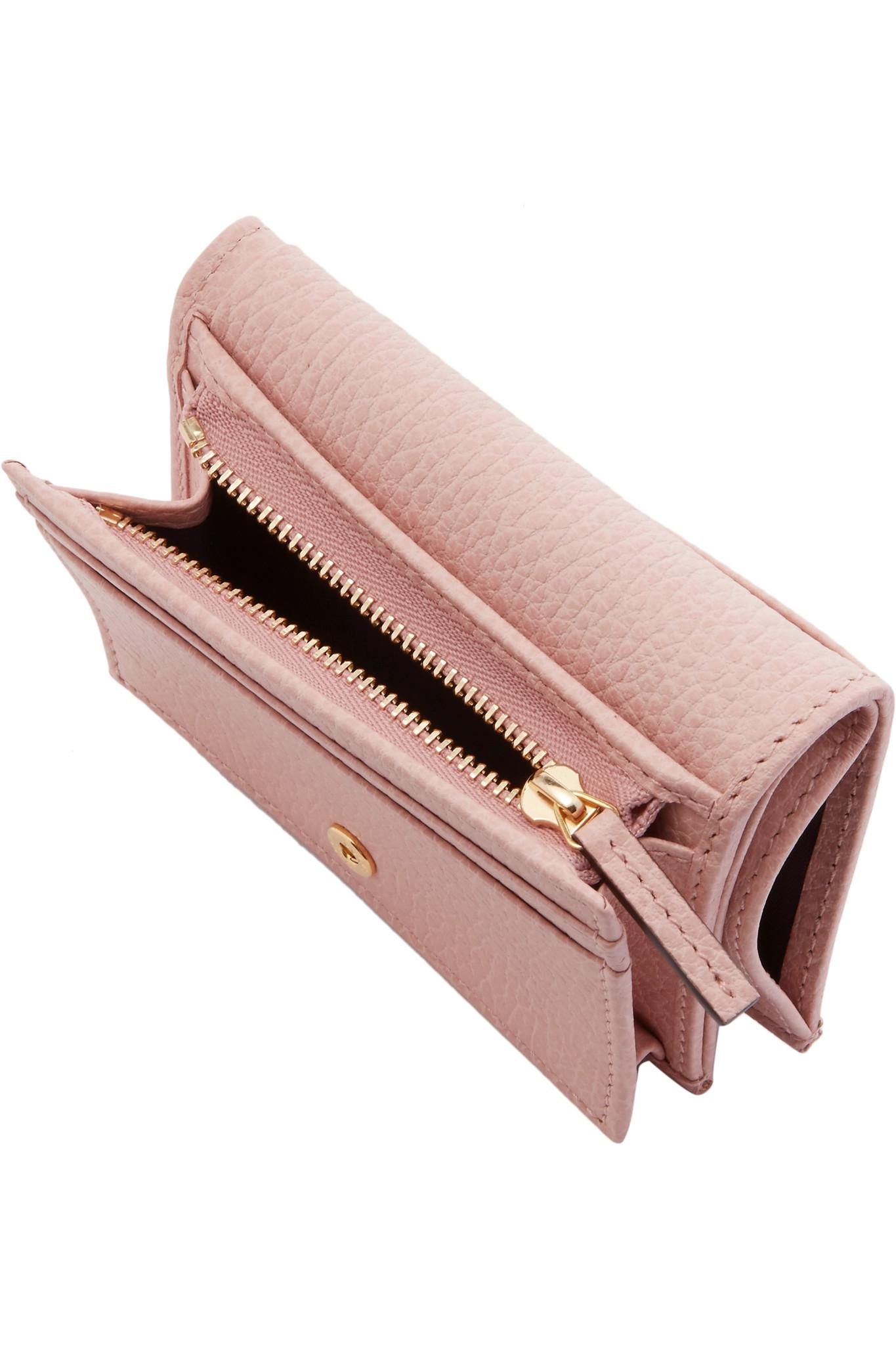 c7793d469d4ec Lyst - Gucci Marmont Petite Textured-leather Wallet in Pink