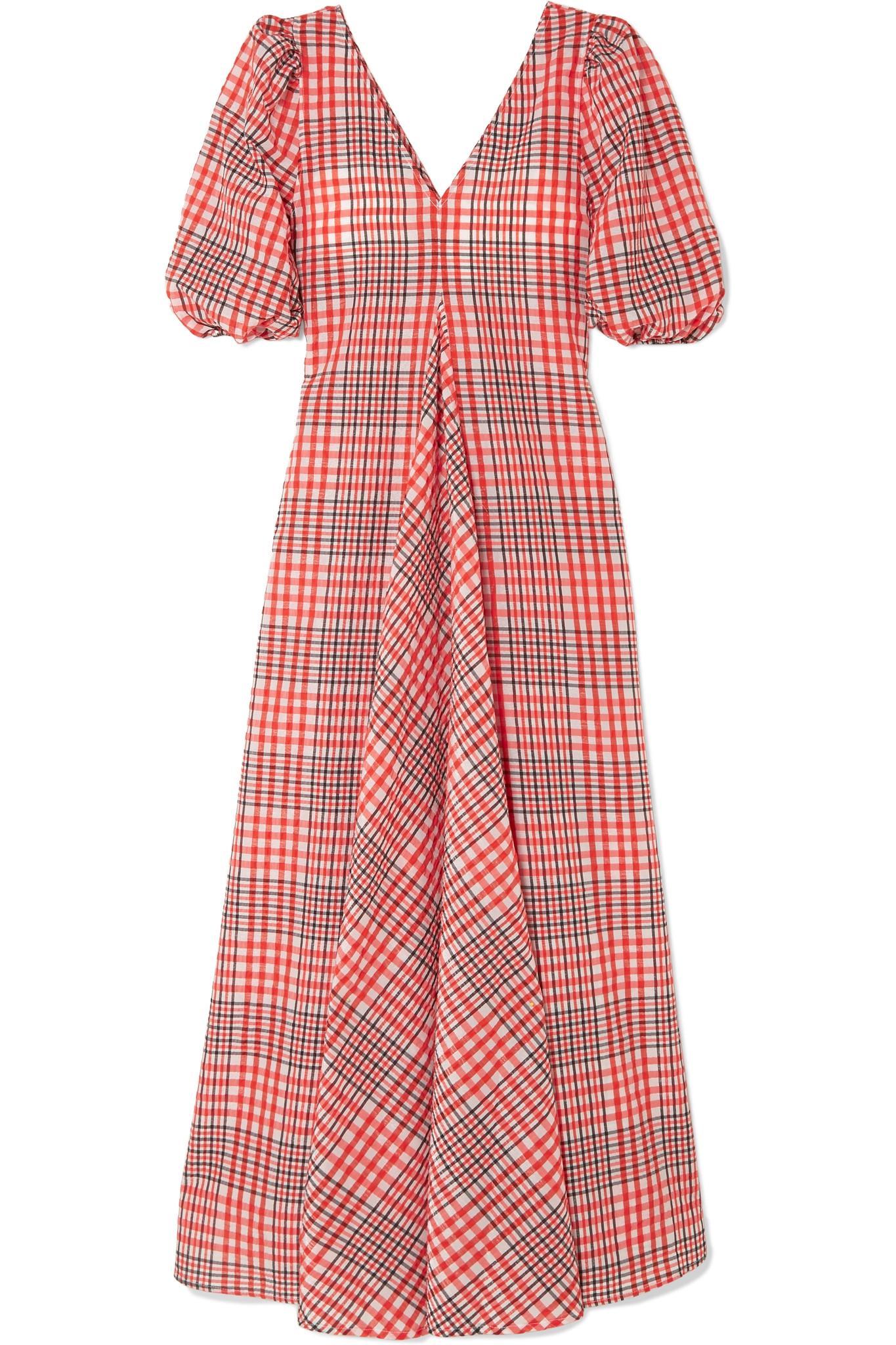 e21e3deb8618e Ganni Checked Cotton-blend Seersucker Maxi Dress in Red - Lyst