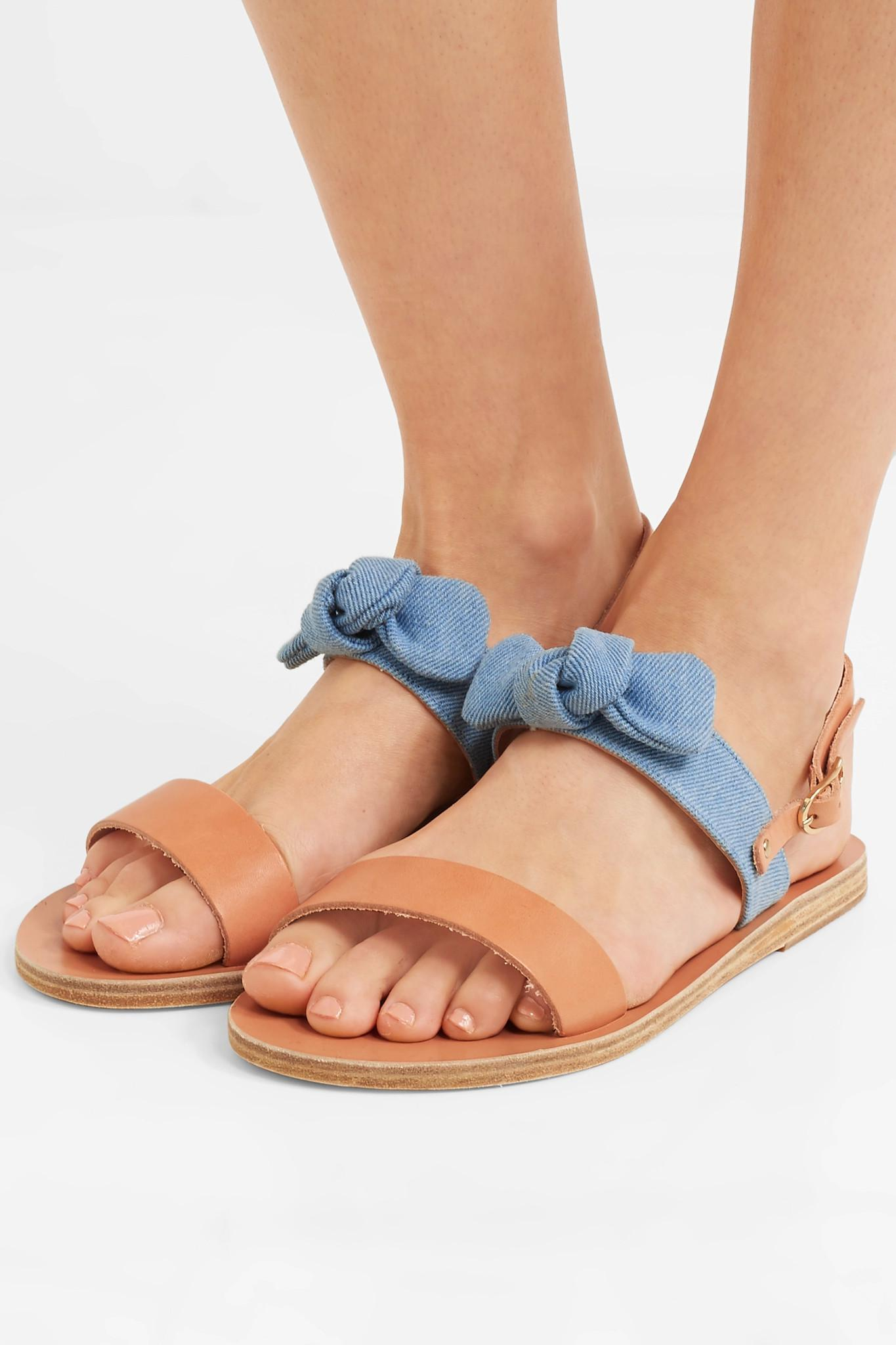 88aa258b56233 Ancient Greek Sandals - Blue Clio Bow-embellished Denim And Leather Sandals  - Lyst. View fullscreen