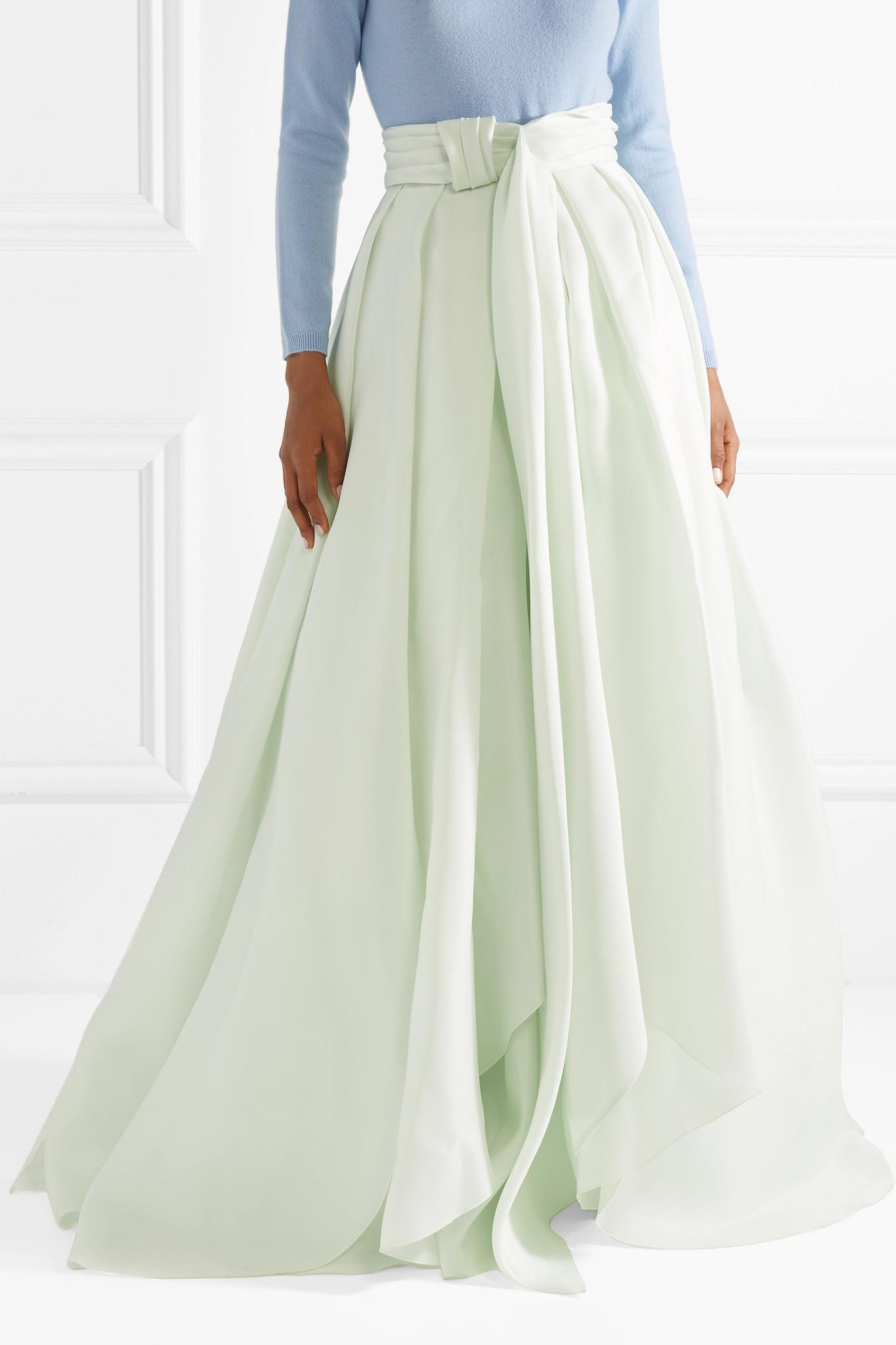 Knotted Silk-gazar Maxi Skirt - Mint Brandon Maxwell Discount Low Price Fee Shipping Clearance From China Pay With Paypal Online For Sale 2018 Buy Cheap 100% Authentic wDTKDLC8F