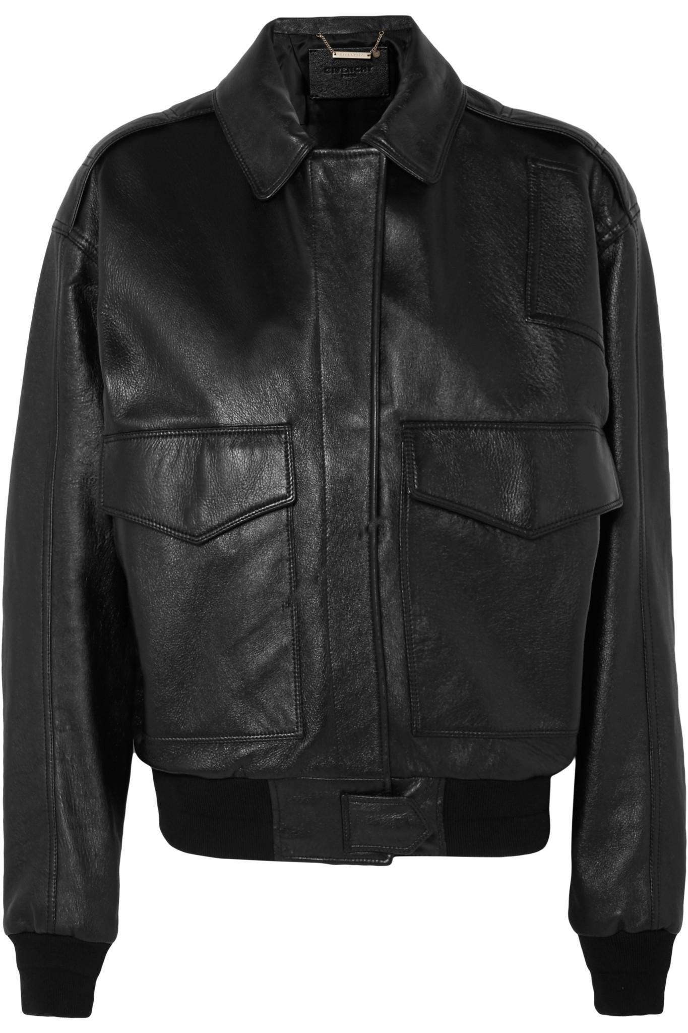 Givenchy. Women's Black Oversized Textured-leather Bomber Jacket