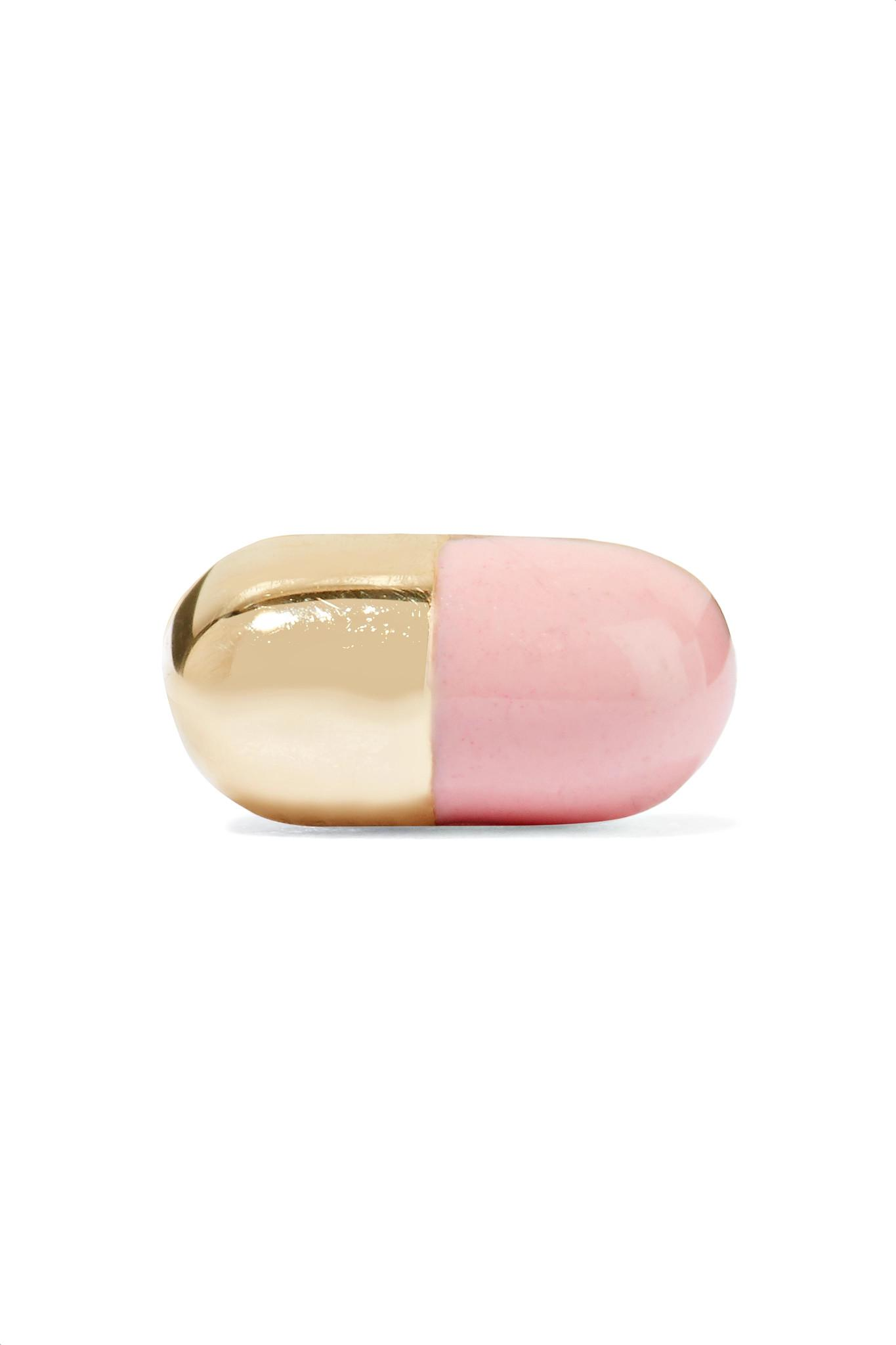 Alison Lou Pill 14-karat Gold Enamel Earring 21wUrg