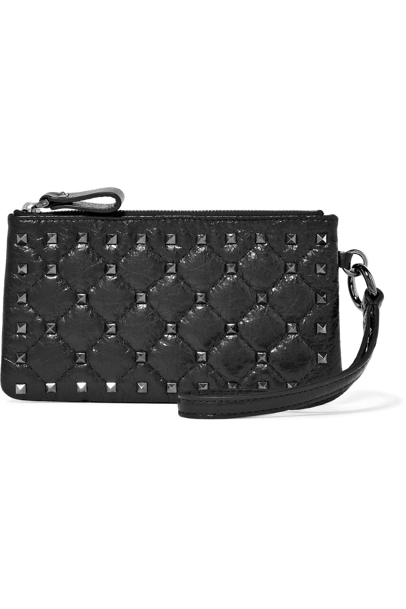 Valentino Garavani Rockstud Spike Quilted Cracked-leather Shoulder Bag - Black Valentino WcZkXi