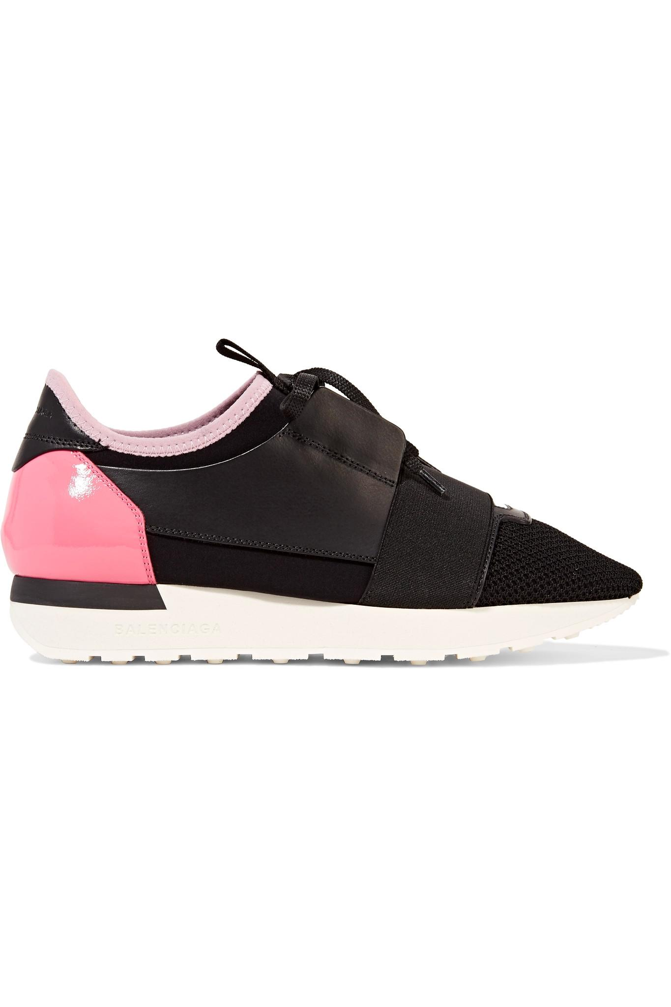 Balenciaga race runner leather mesh and neoprene sneakers in black