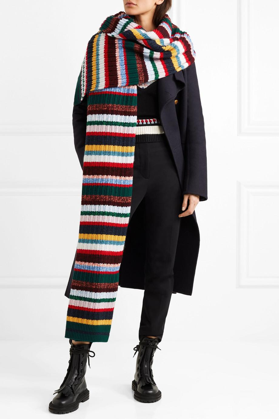 Striped Ribbed-knit Scarf - Red Burberry 713tlBA