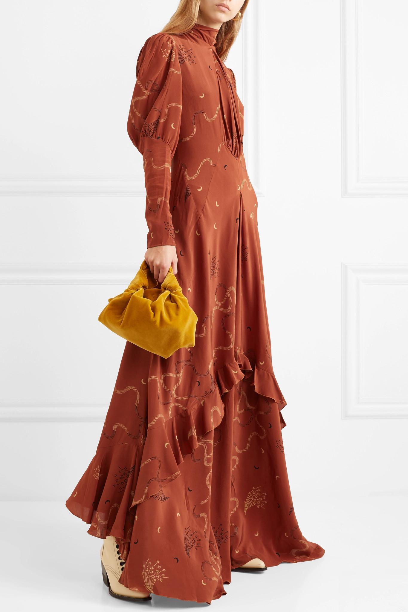 278dc3a347be Etro Ruffled Printed Silk-chiffon Maxi Dress in Brown - Lyst