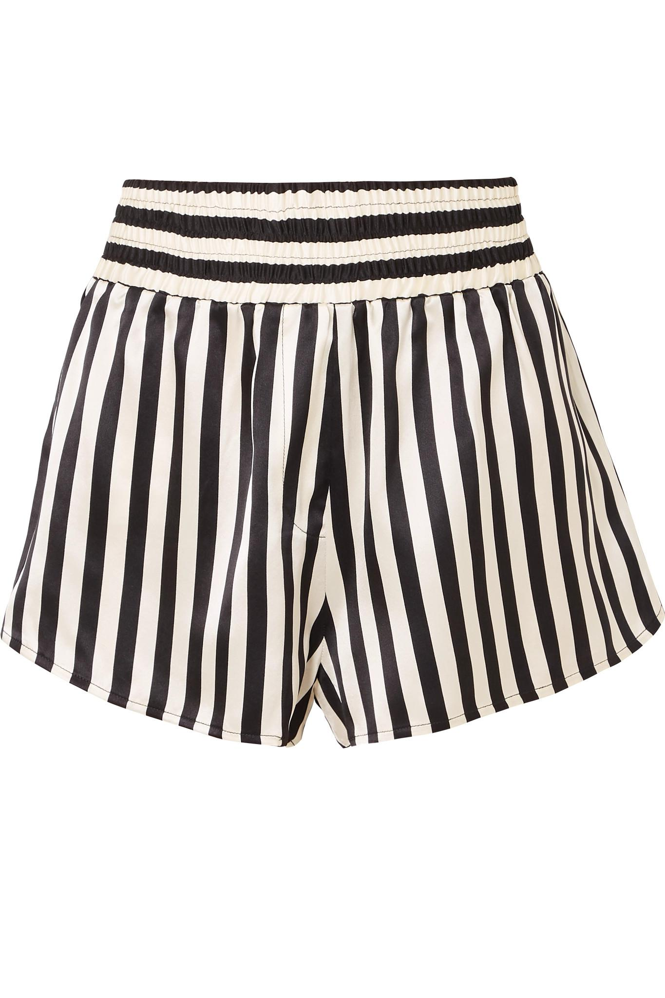Morgan Lane. Women s Black + Amanda Fatherazi Corey Appliquéd Striped Silk-charmeuse  Pajama Shorts 17e3656a4