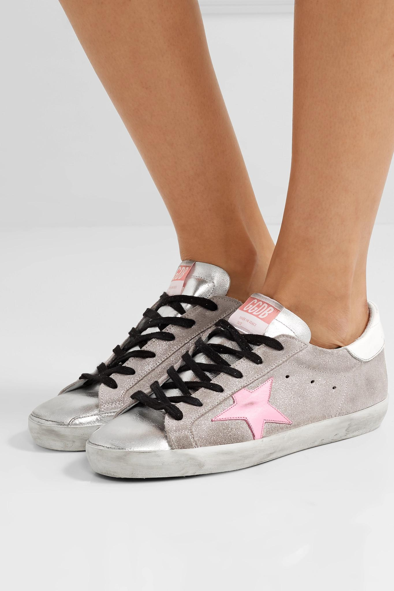 76623b71e273 Lyst - Golden Goose Deluxe Brand Superstar Distressed Glittered ...
