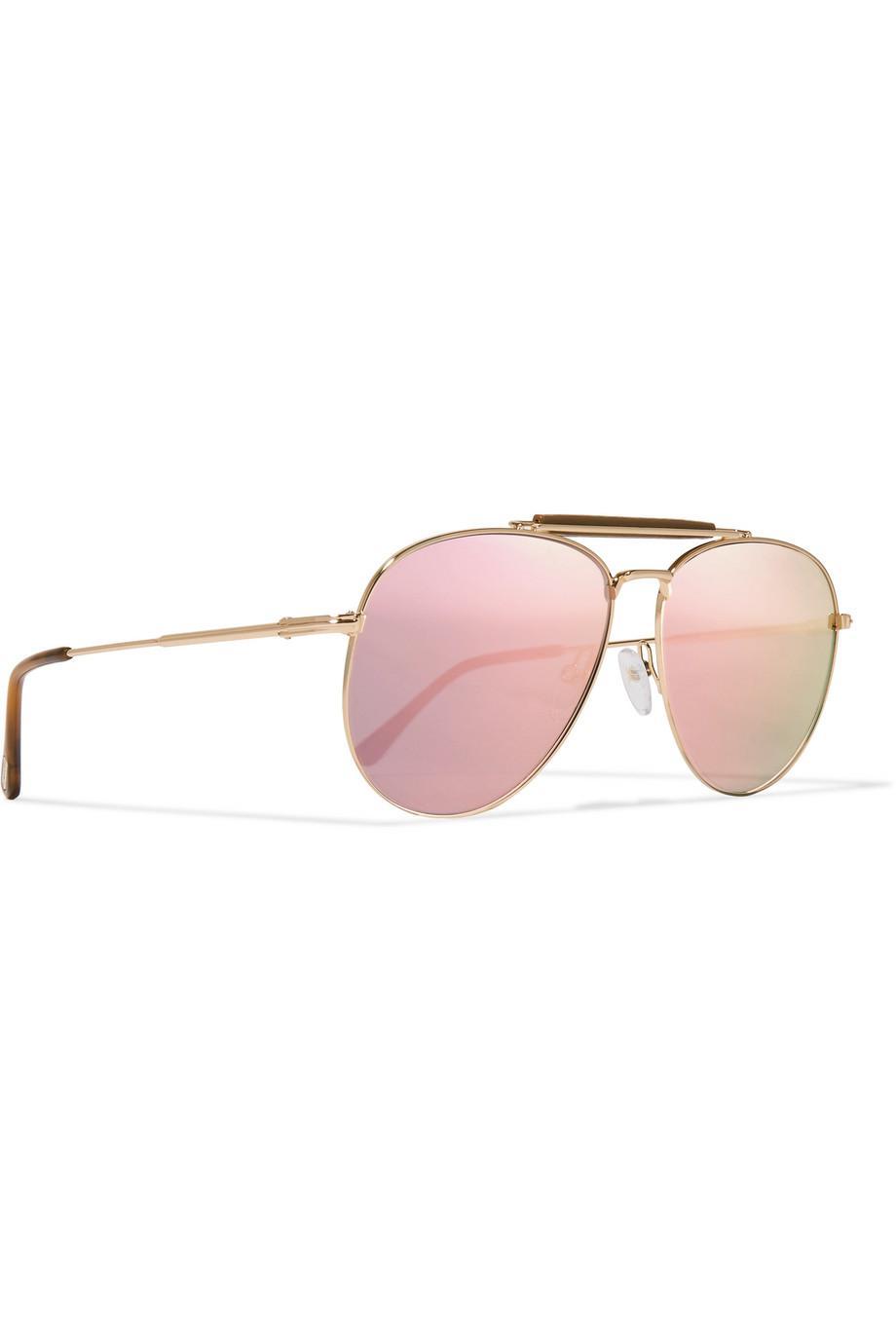Sean Aviator-style Rose Gold-tone Mirrored Sunglasses - Pink Tom Ford cjlYM